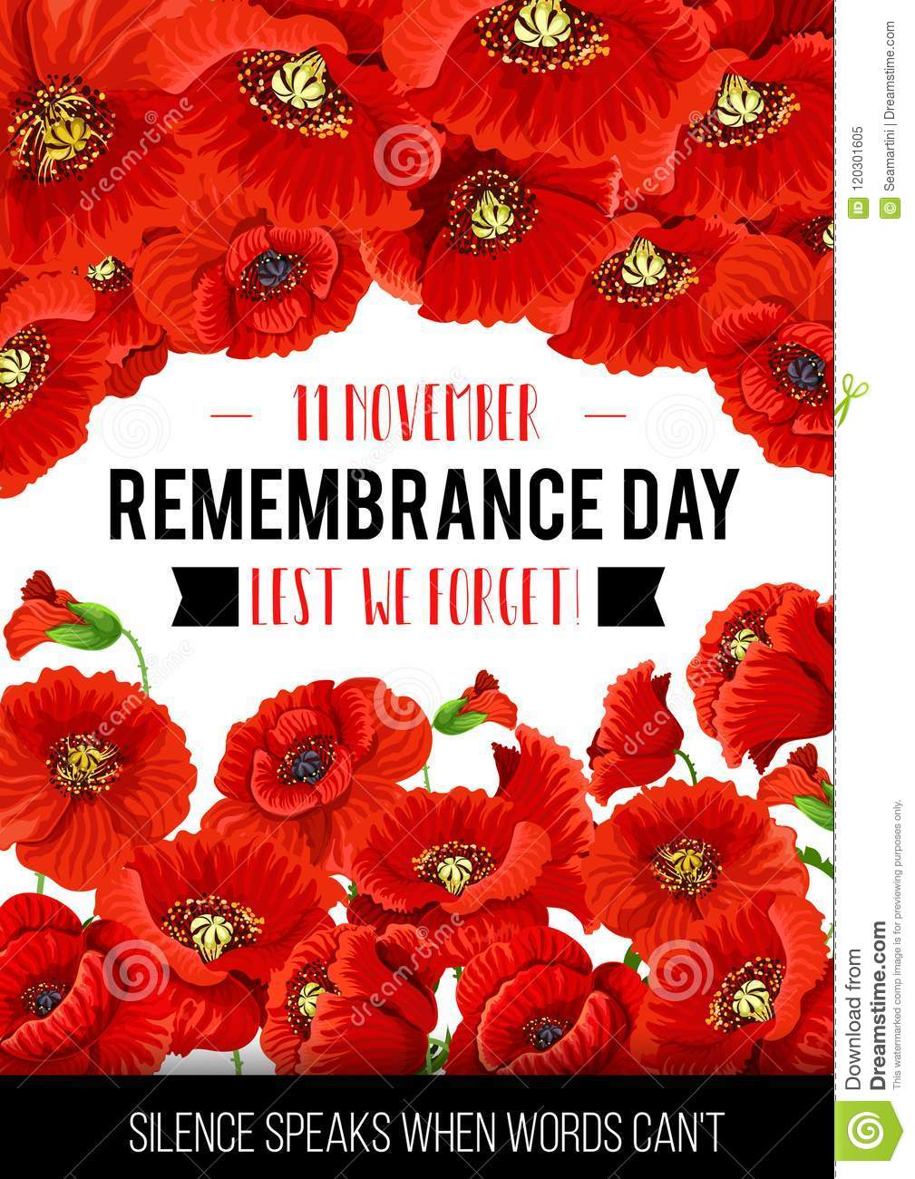 Vector 11 november remembrance day poppy card stock vector remembrance day greeting card of poppy flowers and silence speaks words quote for 11 november lest we forget commonwealth national commemoration mightylinksfo