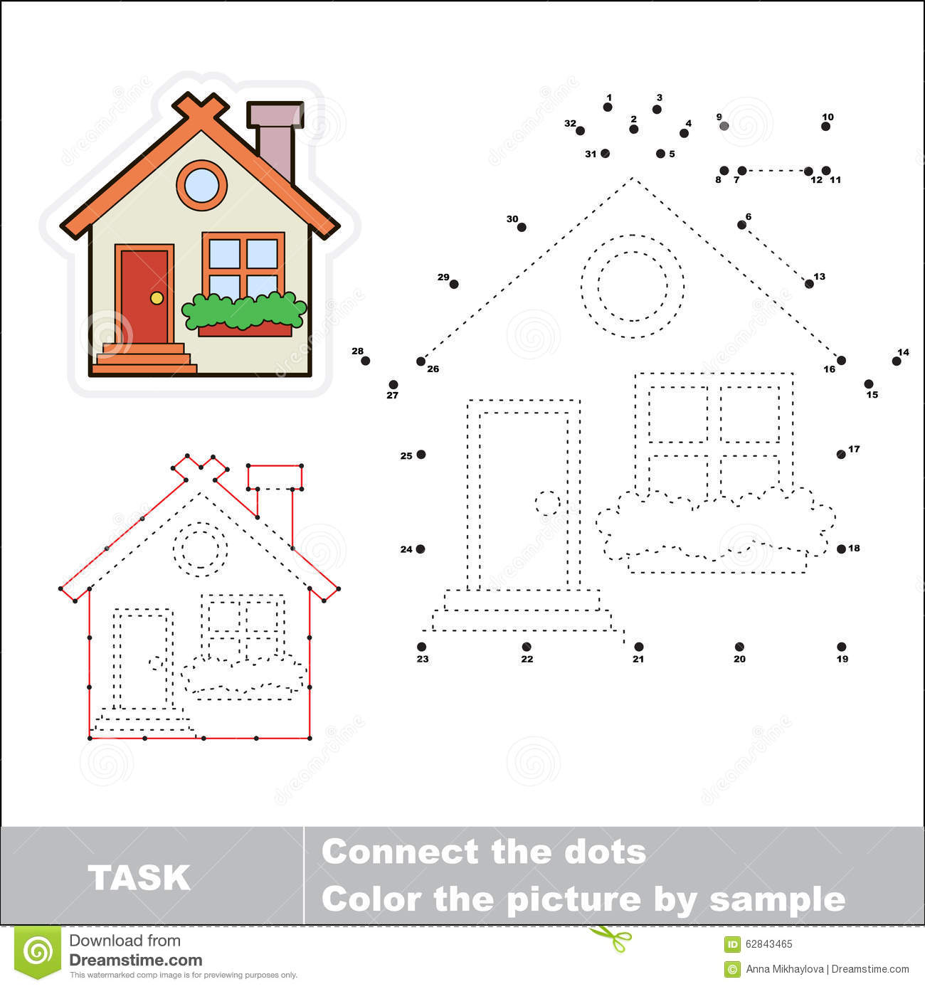 Free Worksheets more or less worksheets preschool : Vector Numbers Game. Cute House To Be Traced. Stock Vector ...