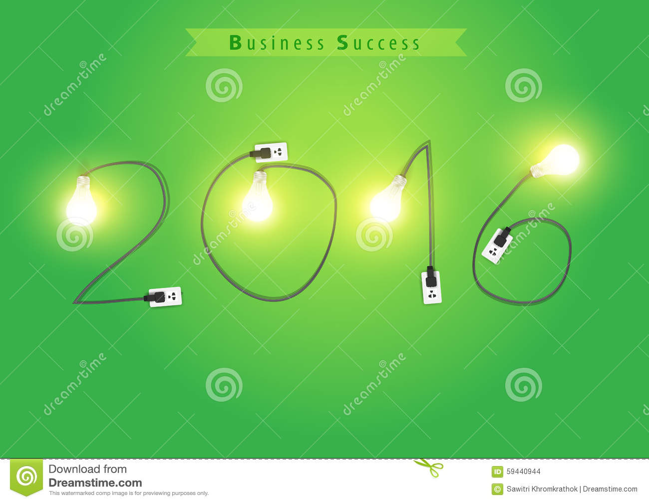 Vector numbers of new year 2016 with creative light bulb idea