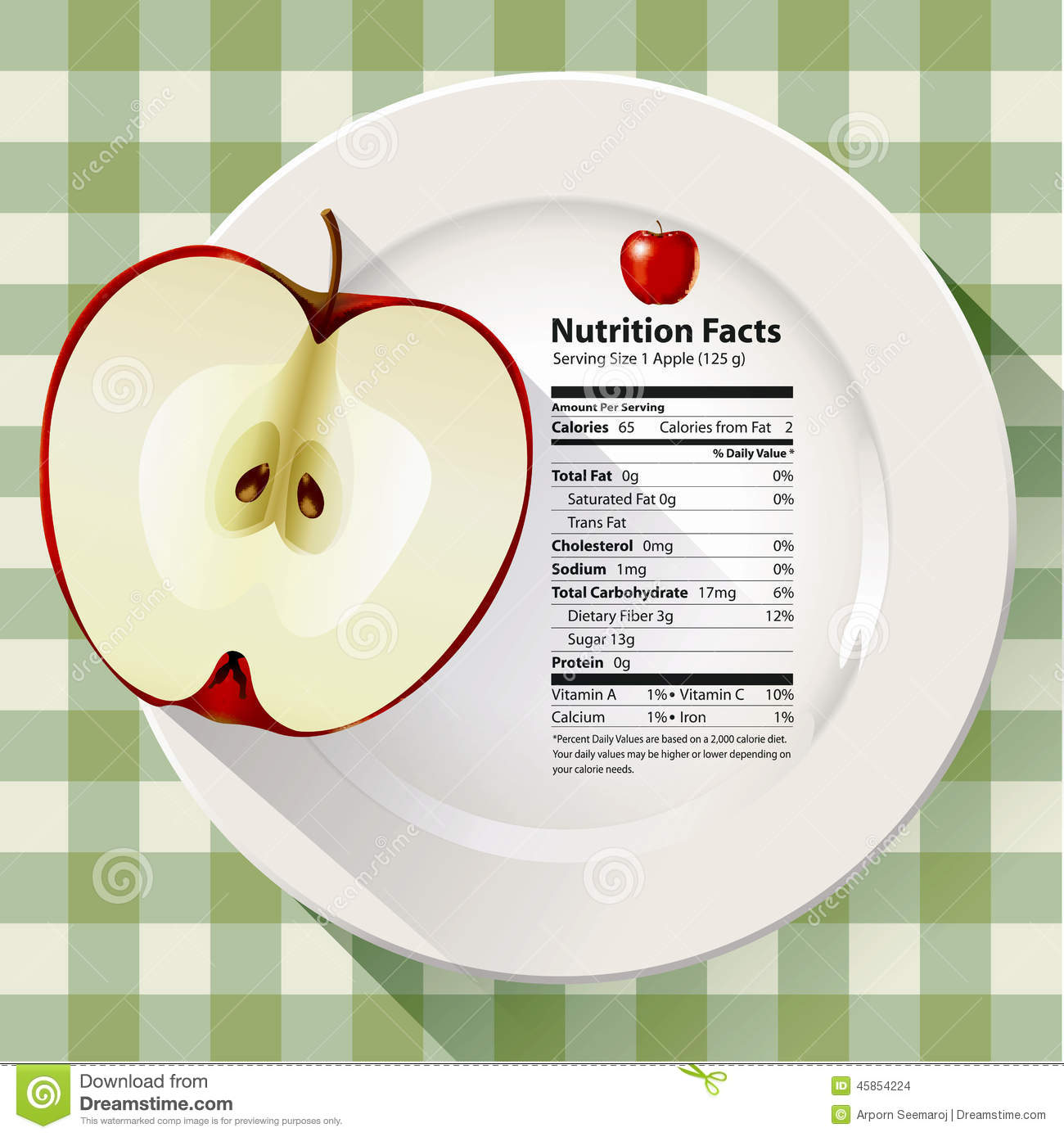 An Apple With A Nutrition Facts Label. Stock Vector - Image: 41491589