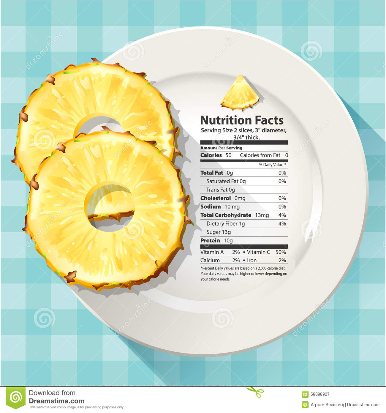 pineapple nutrition facts stock vector. illustration of carbohydrate