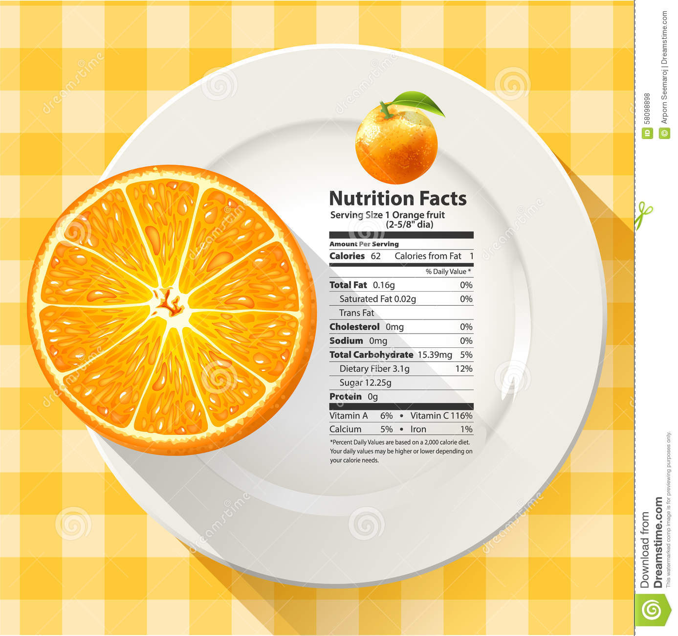 Vector Of Nutrition Facts Serving Size 1 Orange Fruit Stock Vector Illustration Of Background Orange 58098898