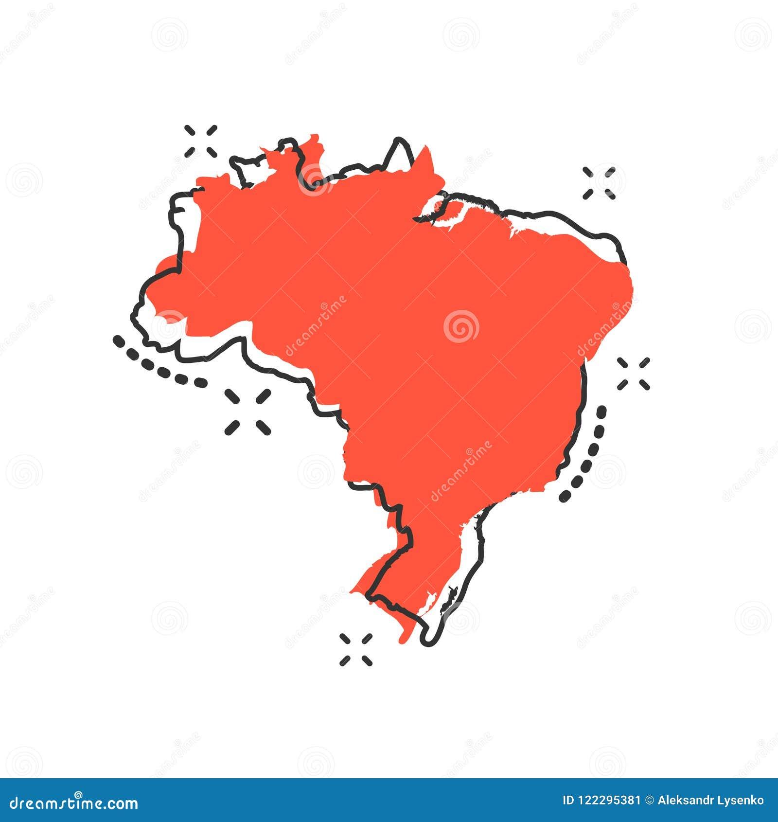 Vector O Icone Do Mapa De Brasil Dos Desenhos Animados No Estilo