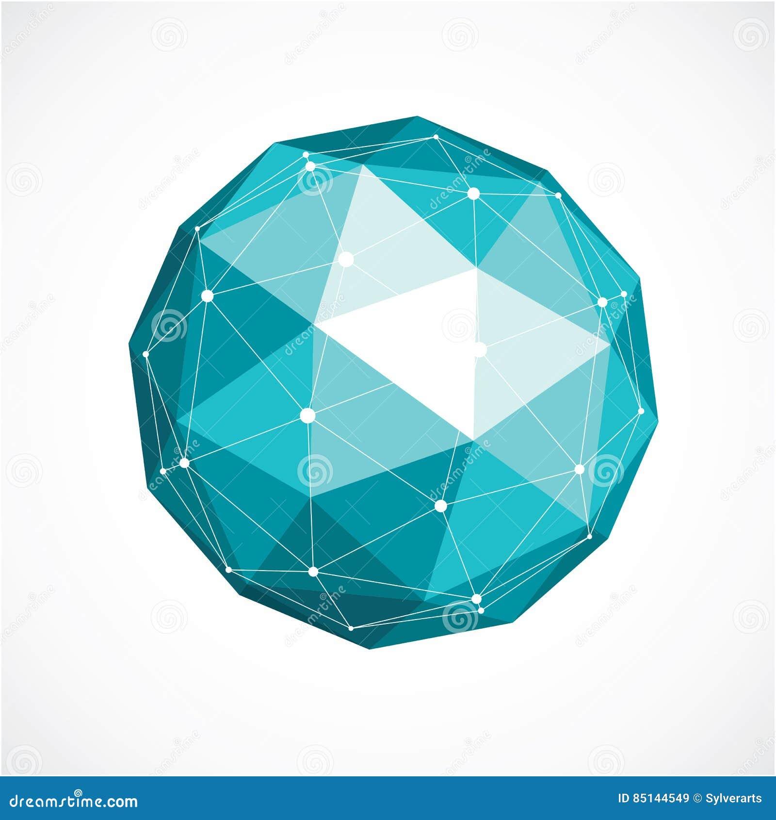 Vector o baixo objeto poli do wireframe dimensional, sh esférico verde