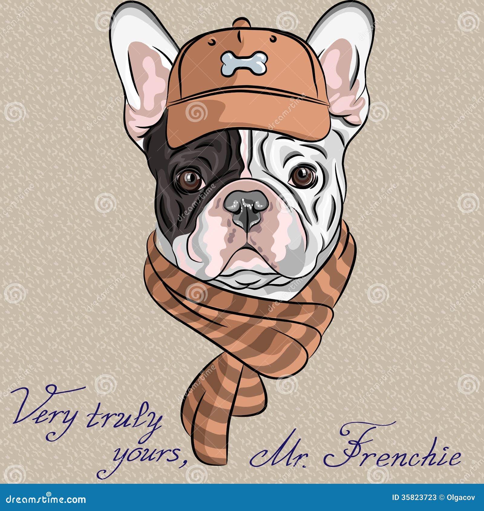 vector o buldogue francês b do cão engraçado do moderno dos desenhos