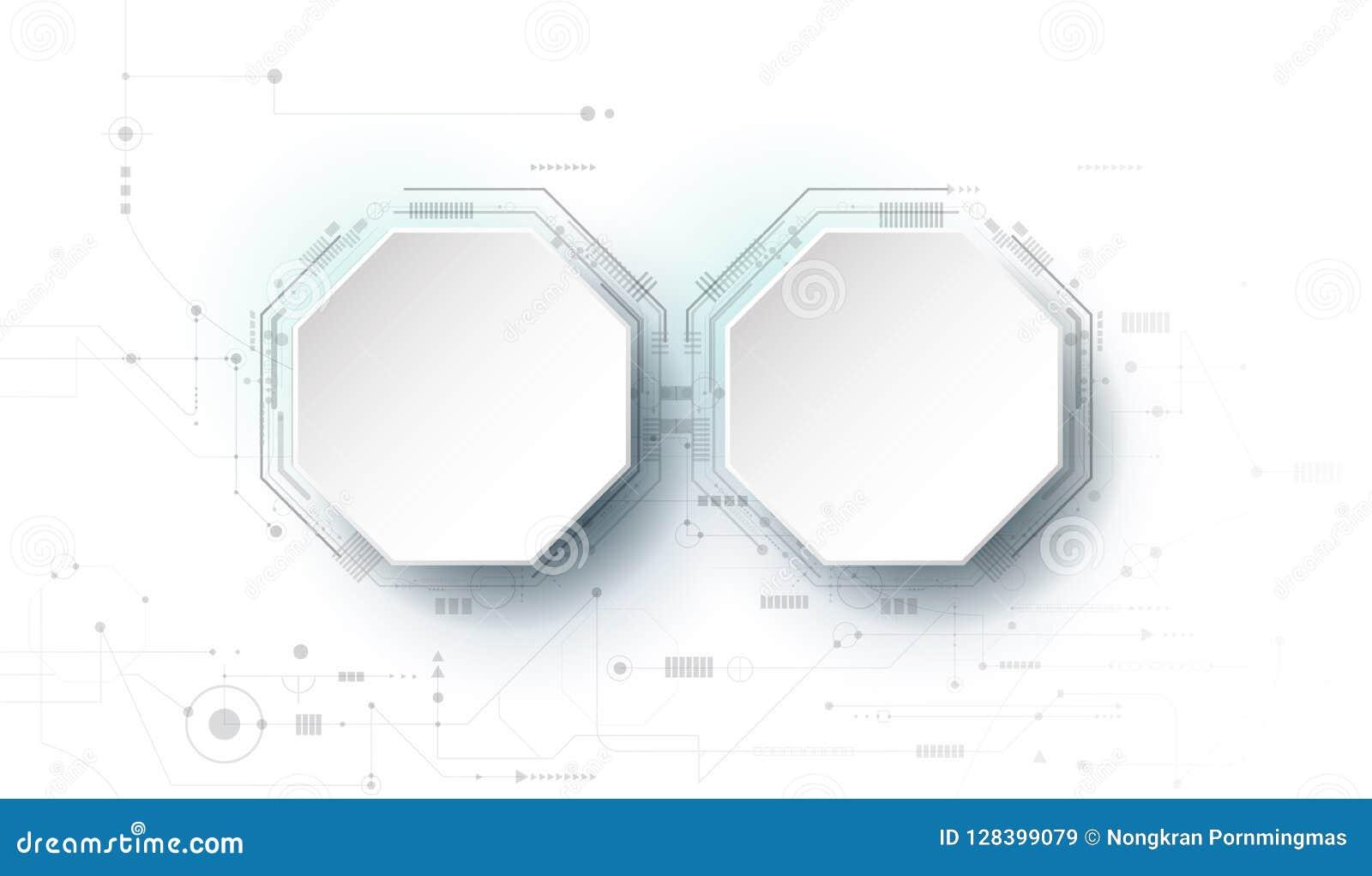 Vector o círculo do papel do projeto 3d com placa de circuito Fundo futurista moderno abstrato da tecnologia da ilustração