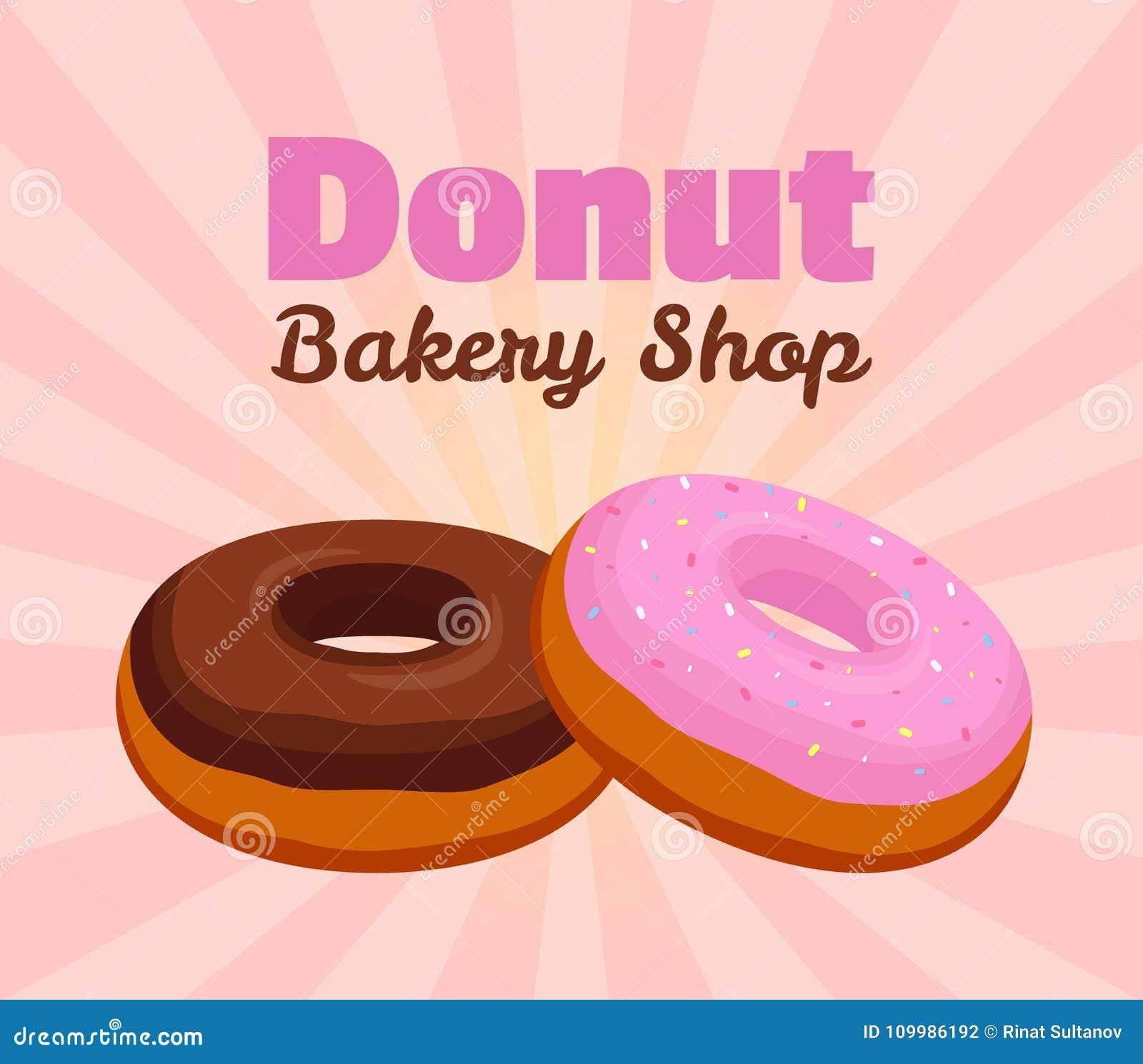 Vector o cartaz da filhós, bandeira com esmalte cor-de-rosa, pastelaria do chocolate para anunciar da loja da padaria Estilo liso