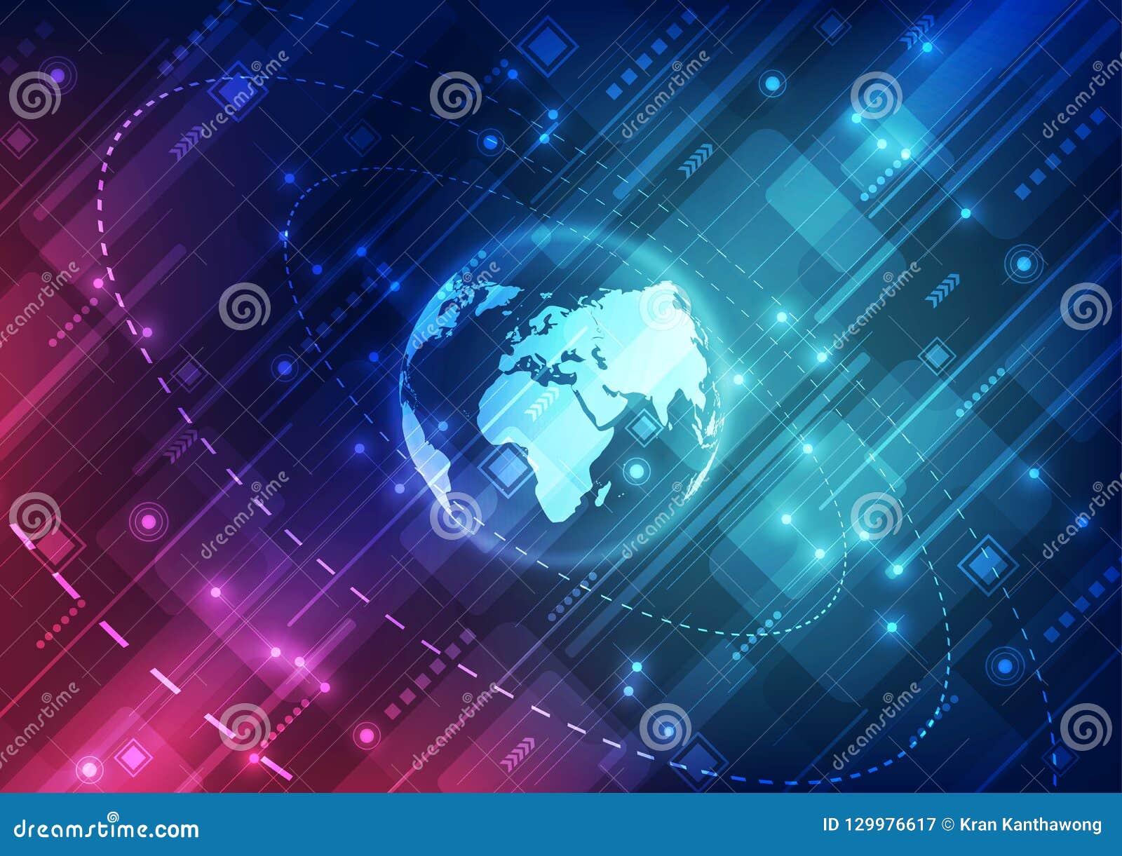 Vector o conceito global digital da tecnologia, ilustração abstrata do fundo