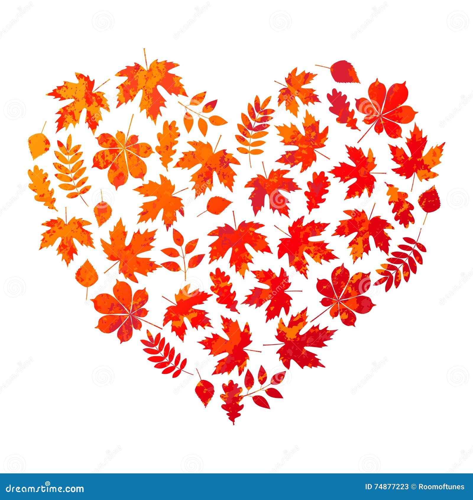 Vector o coração feito das folhas de outono no fundo branco no estilo do grunge