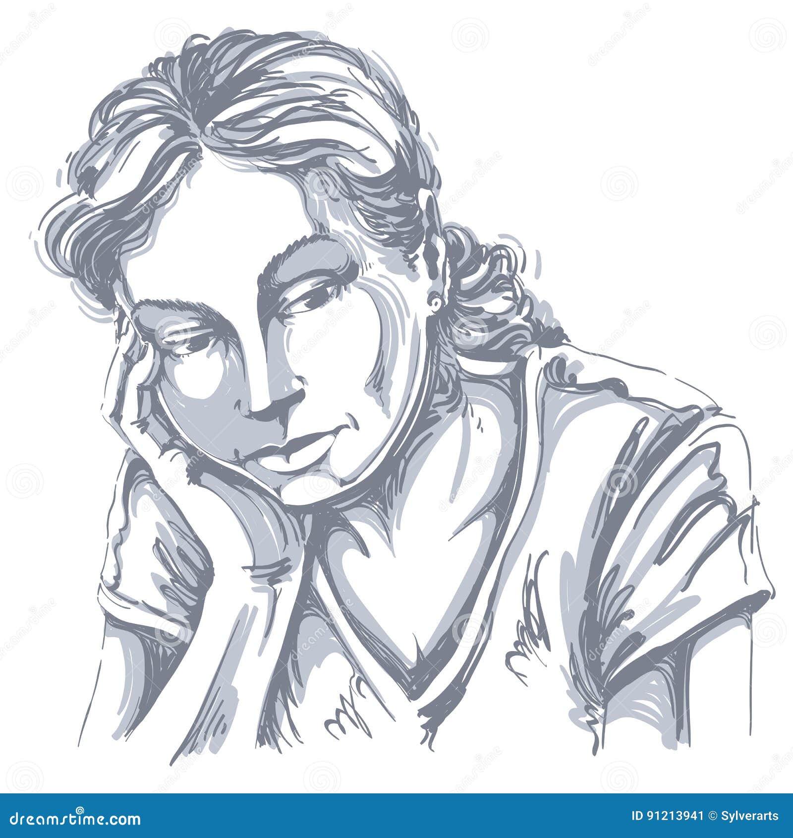 Vector O Desenho Da Arte Retrato Da Menina Triste E Deprimida