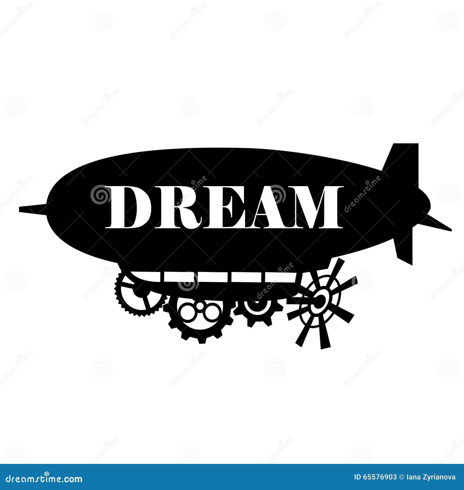 Vector o dirigível fantástico estilizado fundo com um lugar para o texto Etiquetas pretas do molde do dirigible da silhueta