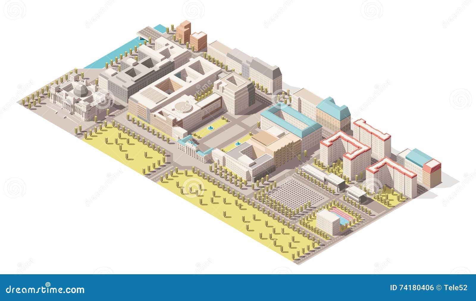 Vector o elemento infographic isométrico que representa o baixo mapa poli de Berlim, Alemanha