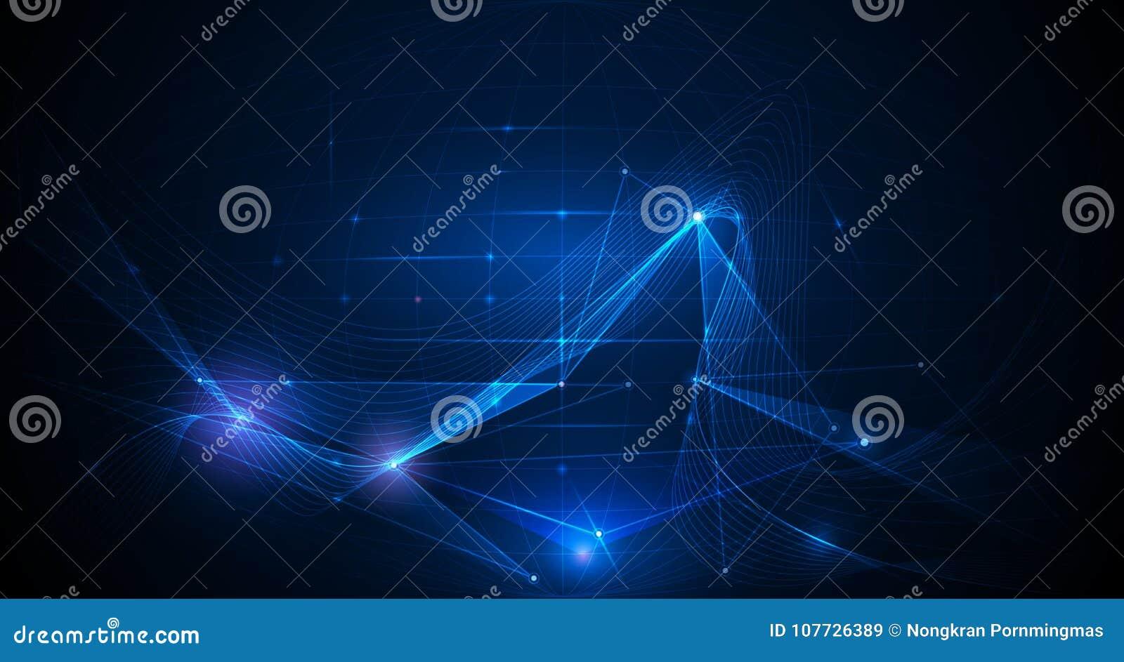 Vector o fundo abstrato com linhas da malha e brilho brilhante