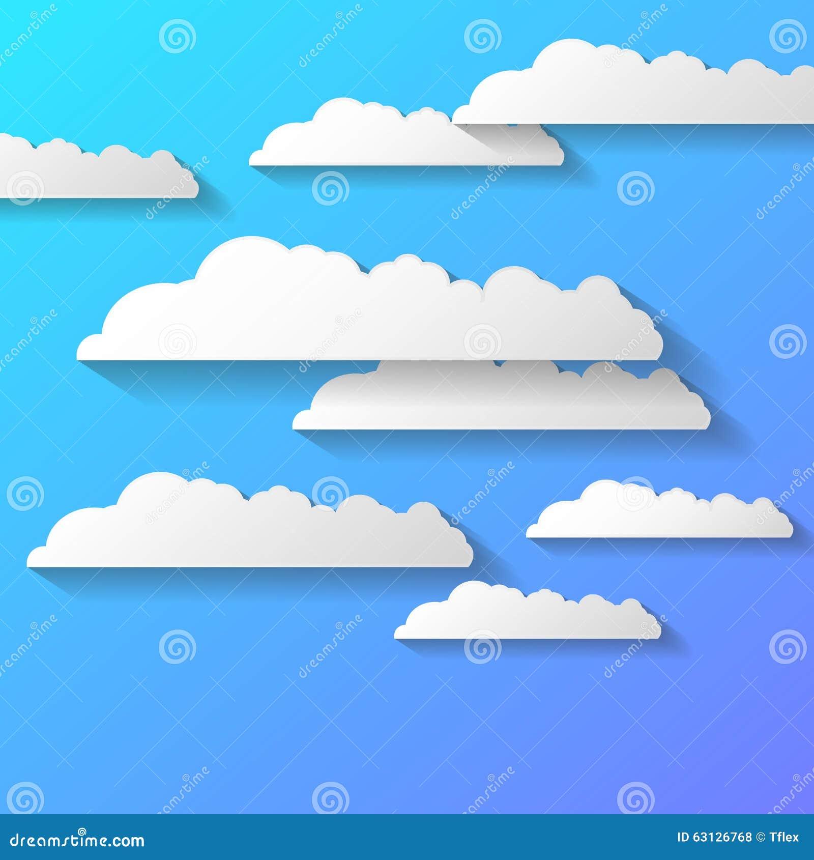 Vector o fundo abstrato composto de nuvens do Livro Branco sobre o azul EPS10