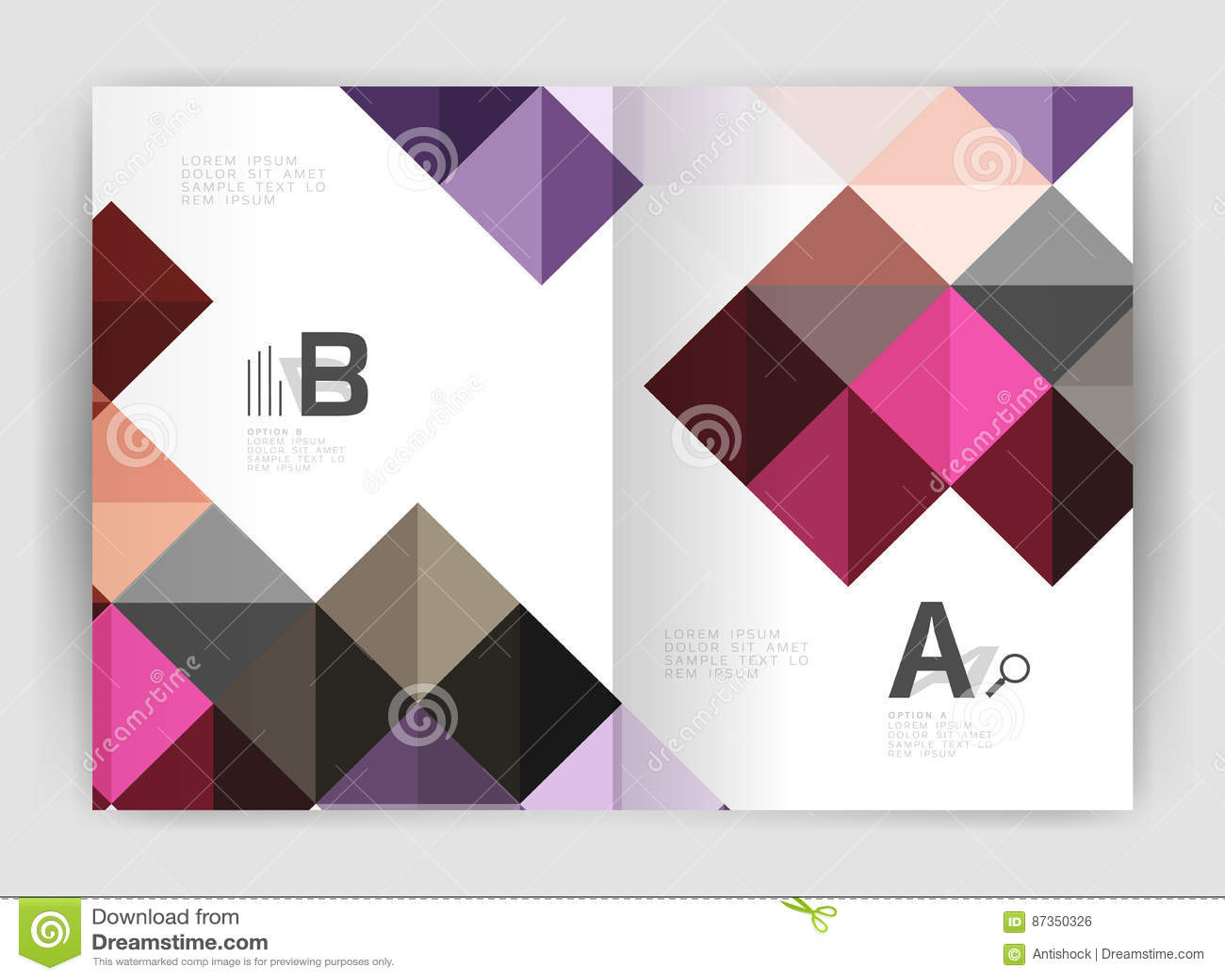 Vector o fundo abstrato minimalistic quadrado, folheto a4 do negócio do molde da cópia