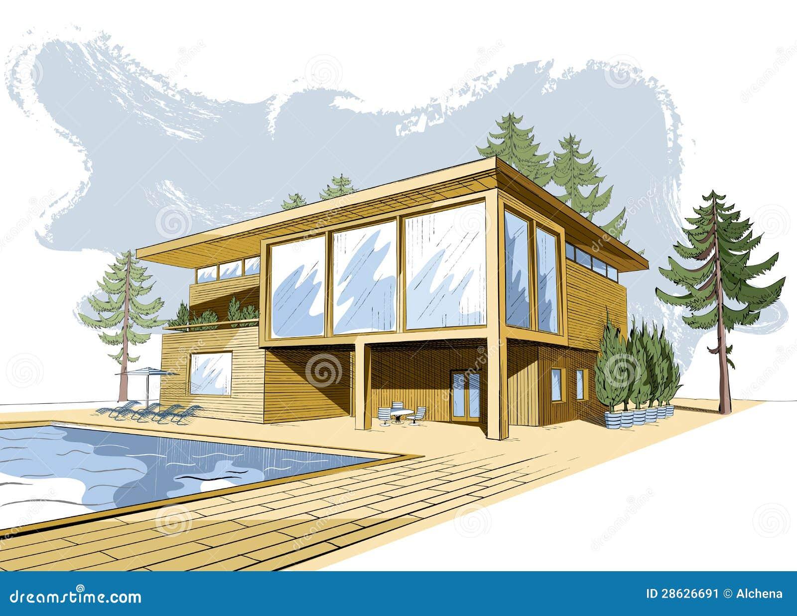 Vector o fundo colorido com a casa moderna com piscina for Casa moderna vector