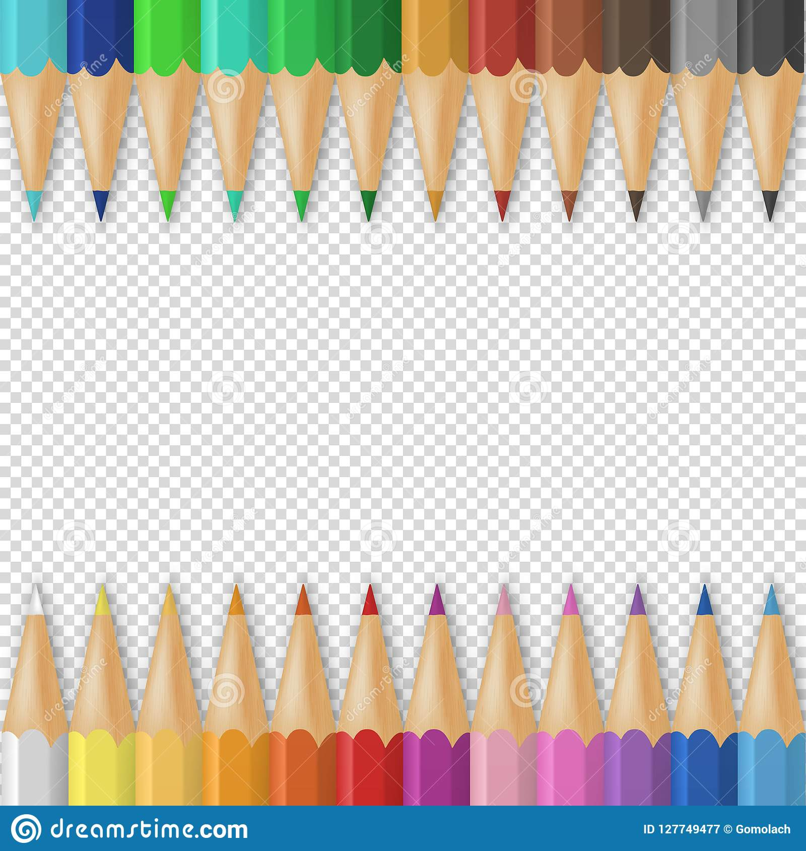 Vector o fundo com os lápis 3D ou os pastéis coloridos coloridos de madeira realísticos no fundo da grade da transparência com