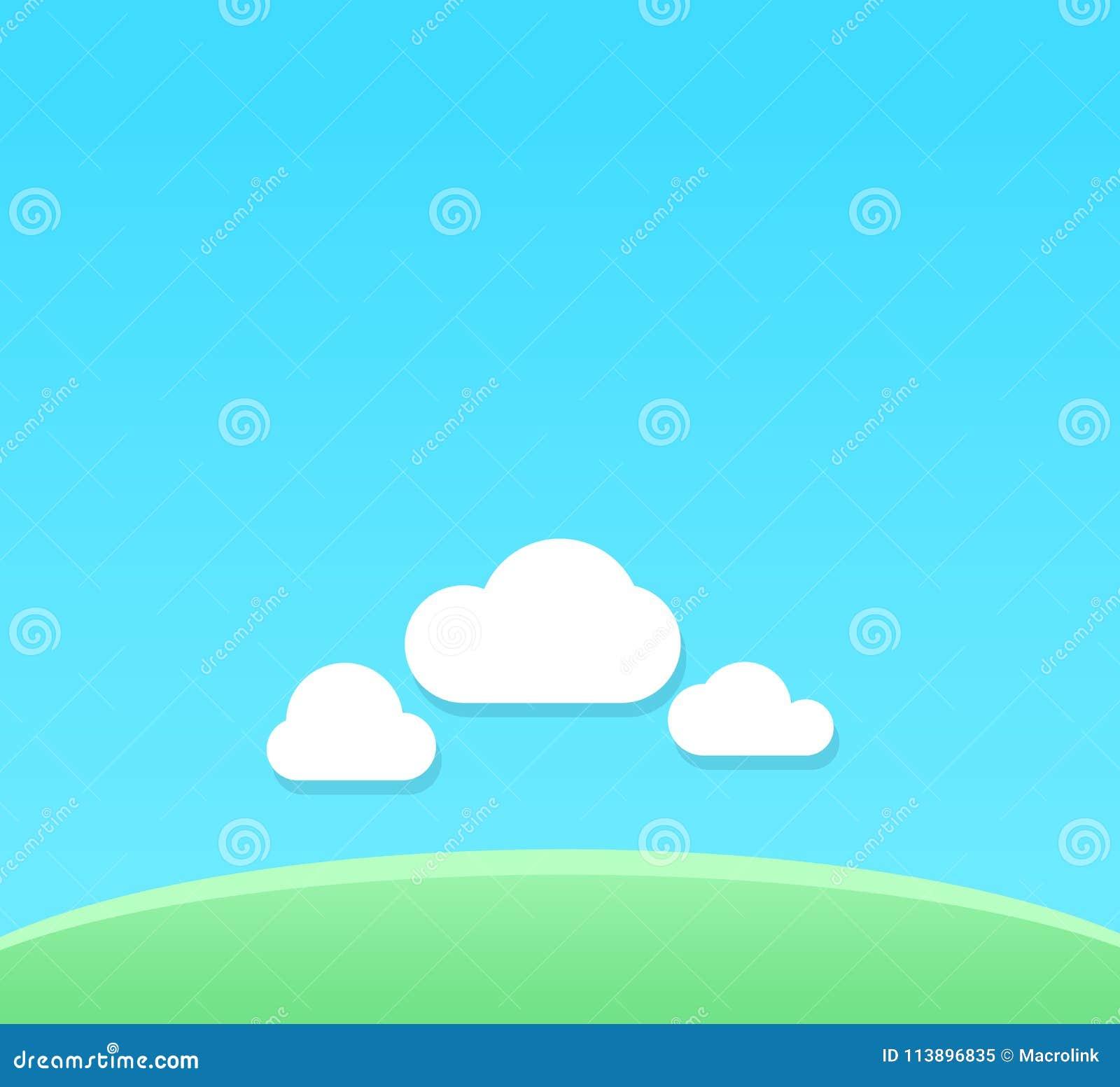 Vector o fundo dos desenhos animados do dia claro com espaço da cópia - contexto com o céu azul sob o campo verde