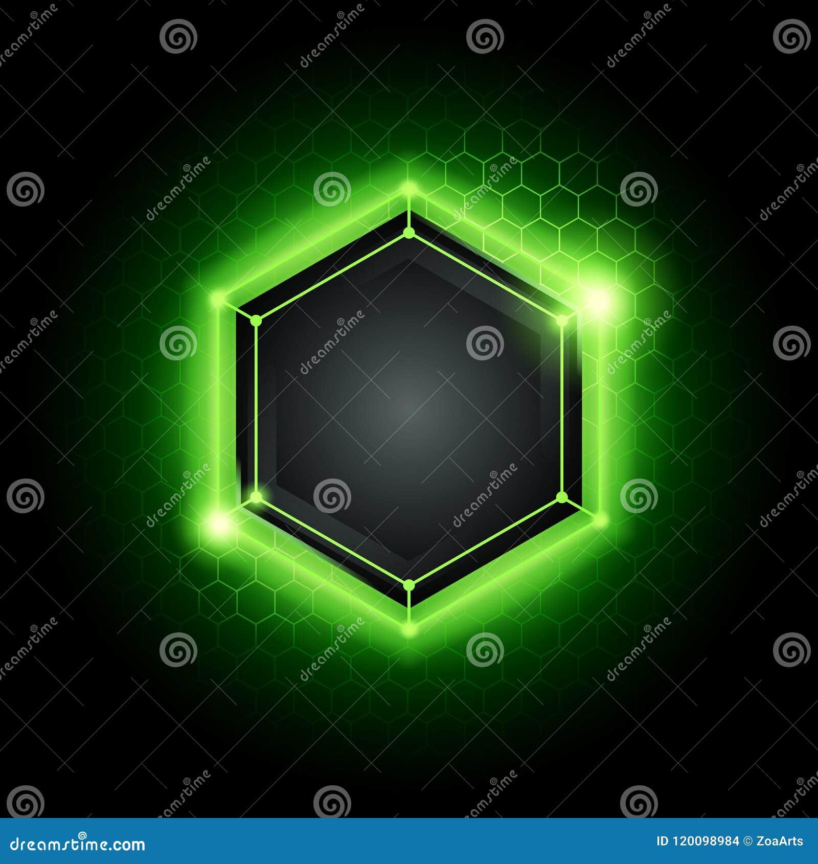 Vector o fundo moderno abstrato da tecnologia do cyber do metal da ilustração com teste padrão poli do hexágono e luz verde