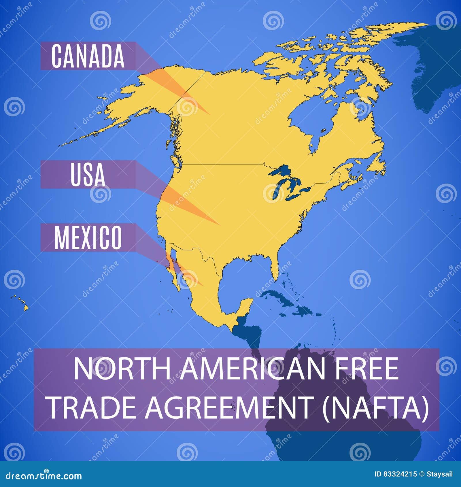 Vector o mapa do NAFTA livre norte-americano do acordo de comércio