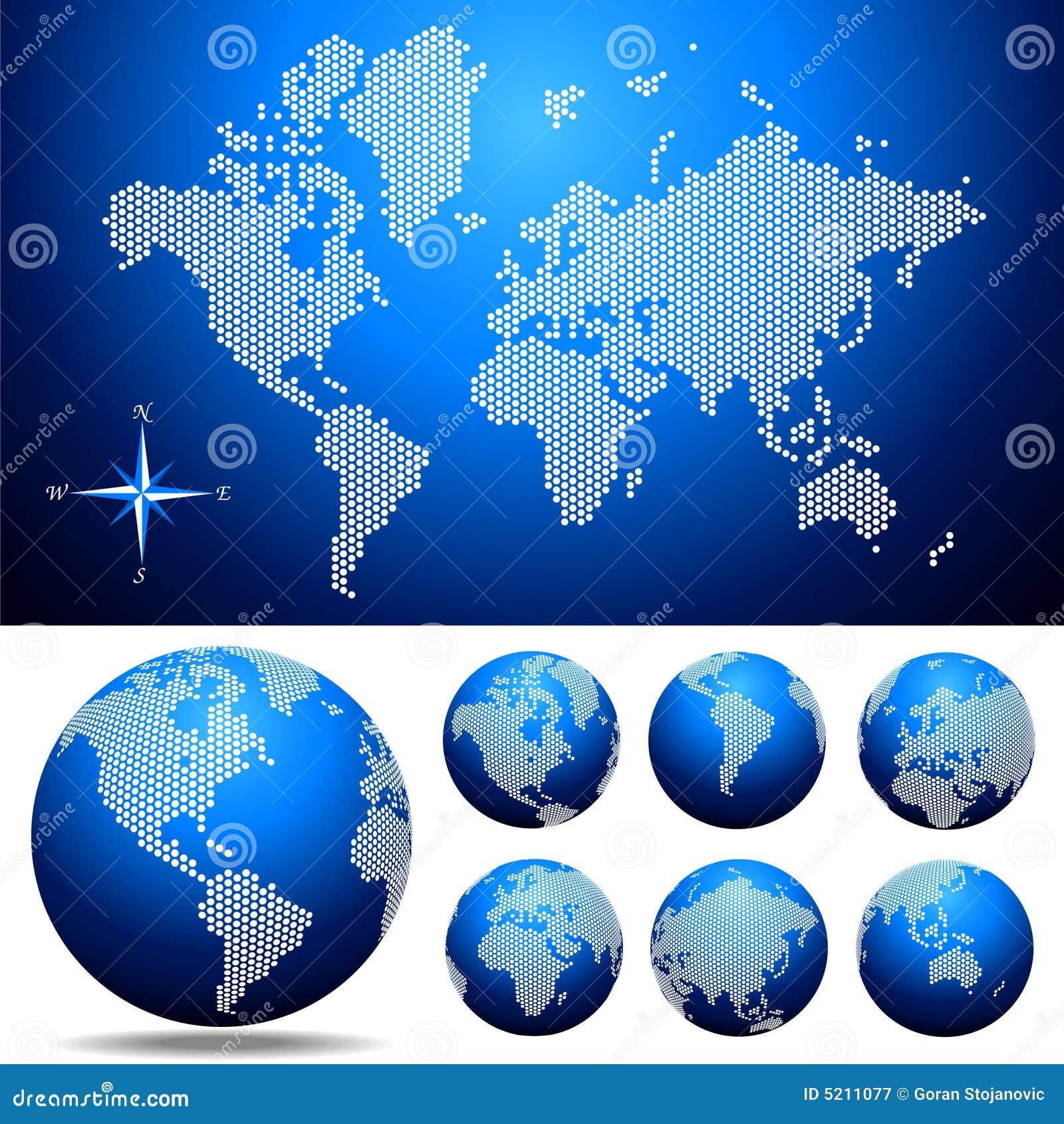 Vector o mapa e o globo pontilhados do mundo fotografia de stock royalty free imagem 5211077 - Oglo o ...