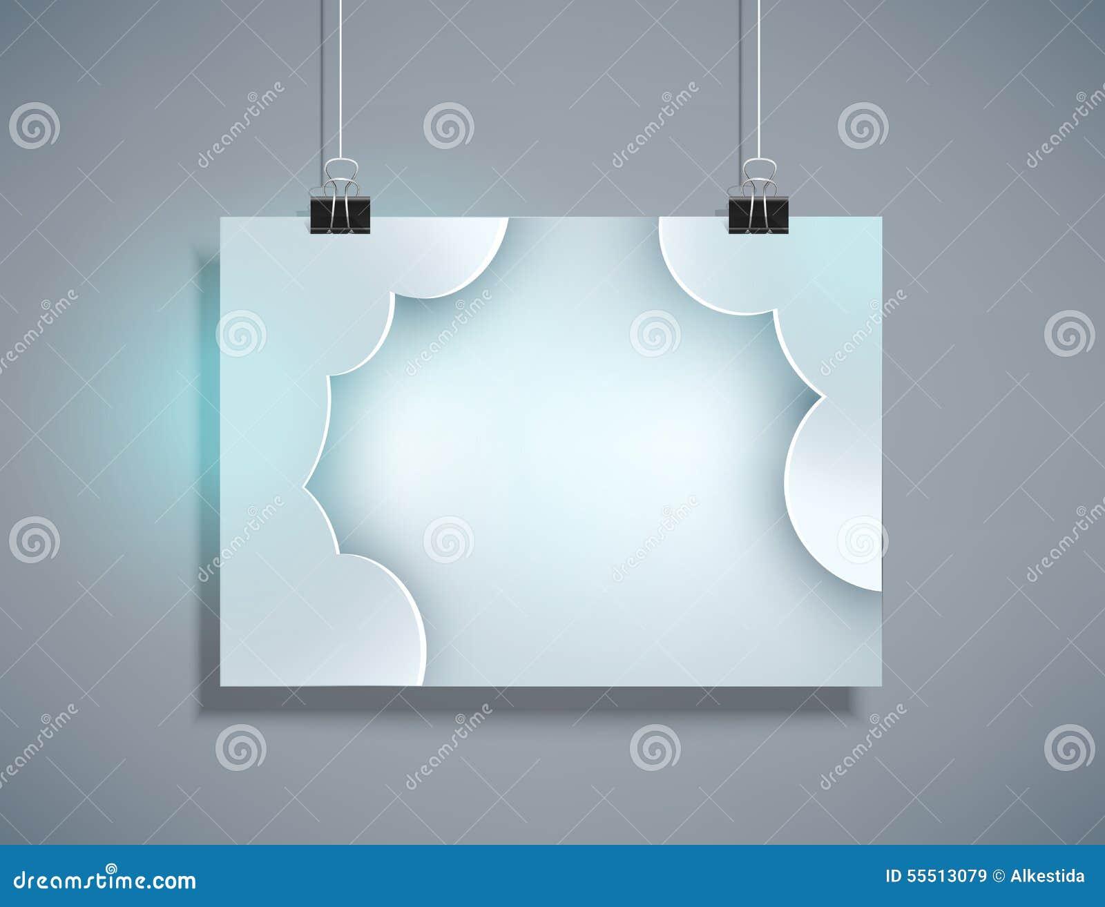 Vector o molde cinzento para o projeto que pendura na parede (horizontal