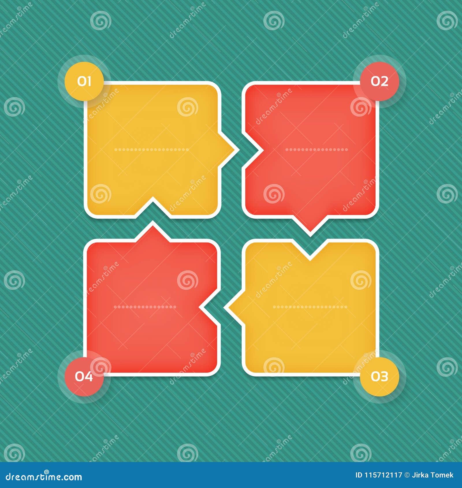 Vector o molde infographic para o diagrama, o gráfico, a apresentação e a carta Conceito do negócio com 4 opções, peças, etapas