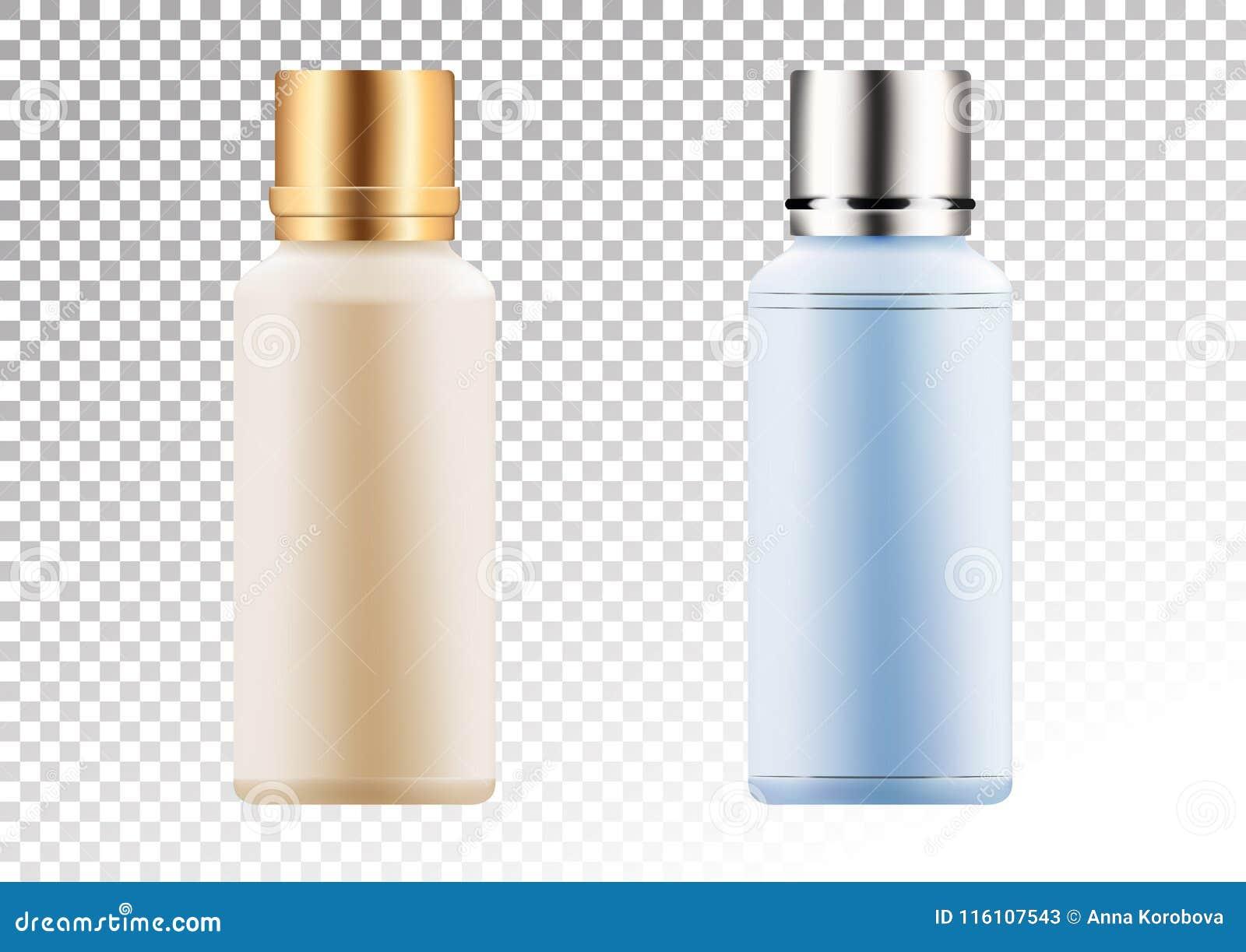 Vector o ouro vazio e o pacote cor-de-rosa para produtos cosméticos tubo e garrafa para a loção, gel do chuveiro, champô, tônico