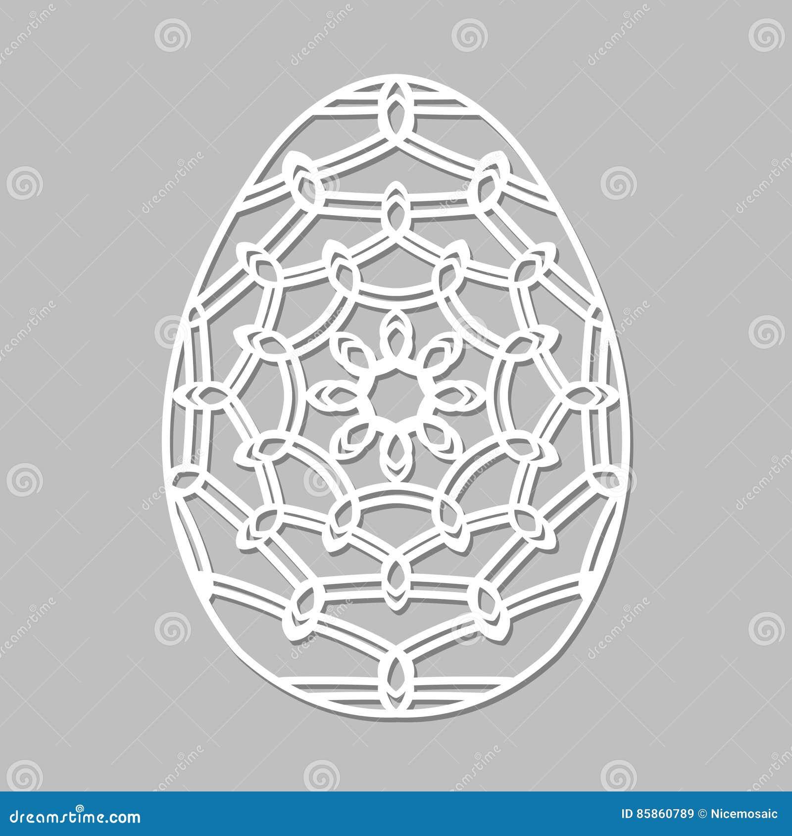 Vector o ovo da páscoa laçado do estêncil com teste padrão a céu aberto cinzelado Tem
