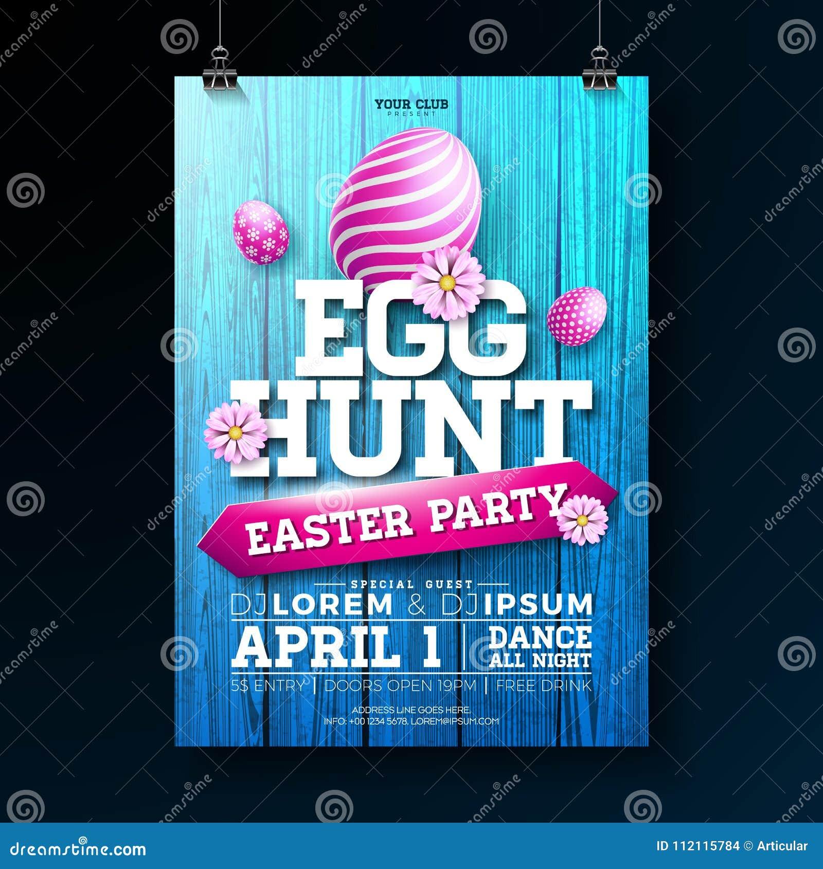 Vector o ovo Hunt Easter Party Flyer Illustration com ovos, as flores e elementos pintados da tipografia na madeira do vintage
