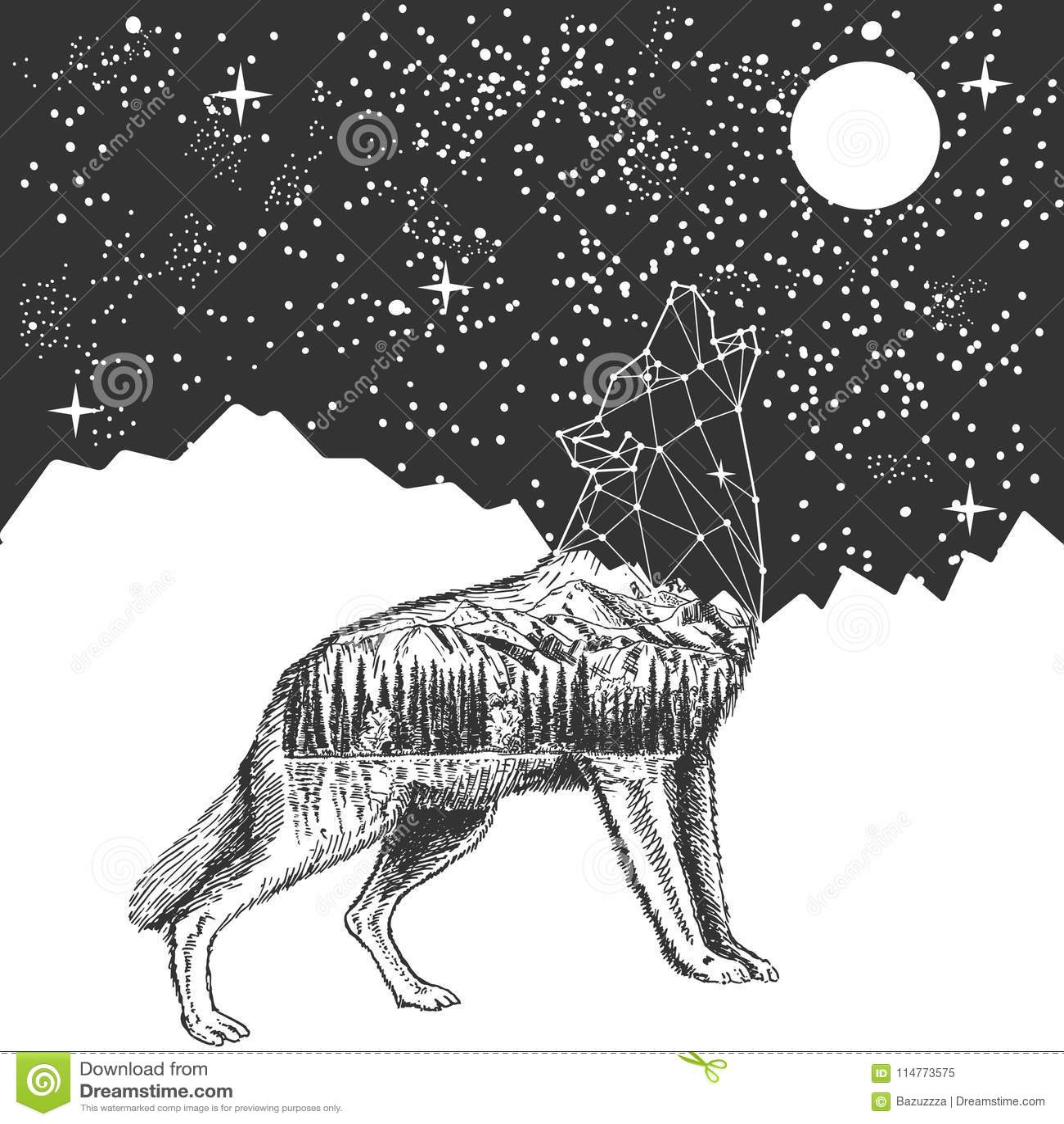 Vector o projeto da cópia do t-shirt da tatuagem do lobo e do céu noturno do urro
