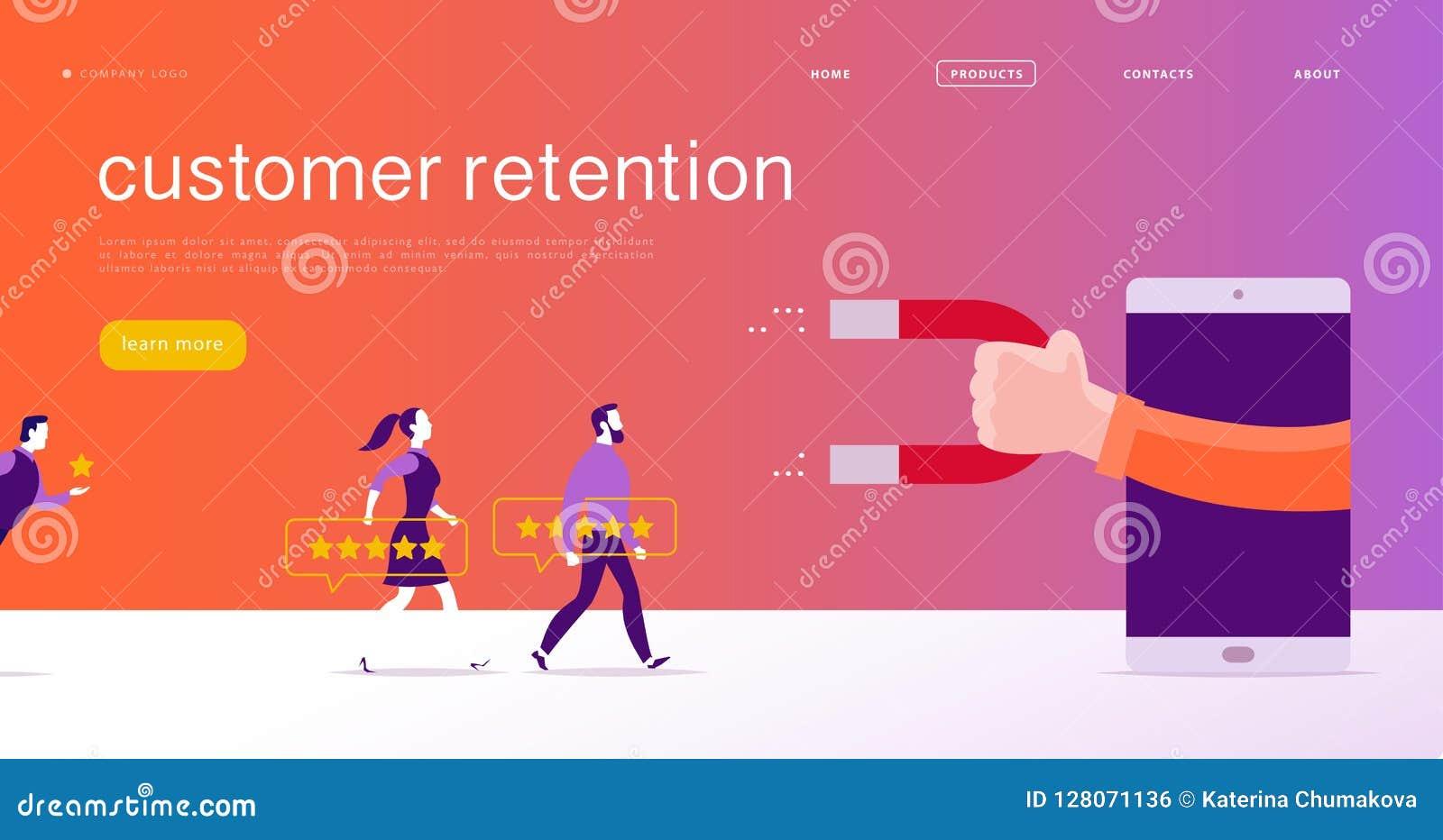 Vector o projeto de conceito do página da web, tema da retenção do cliente P