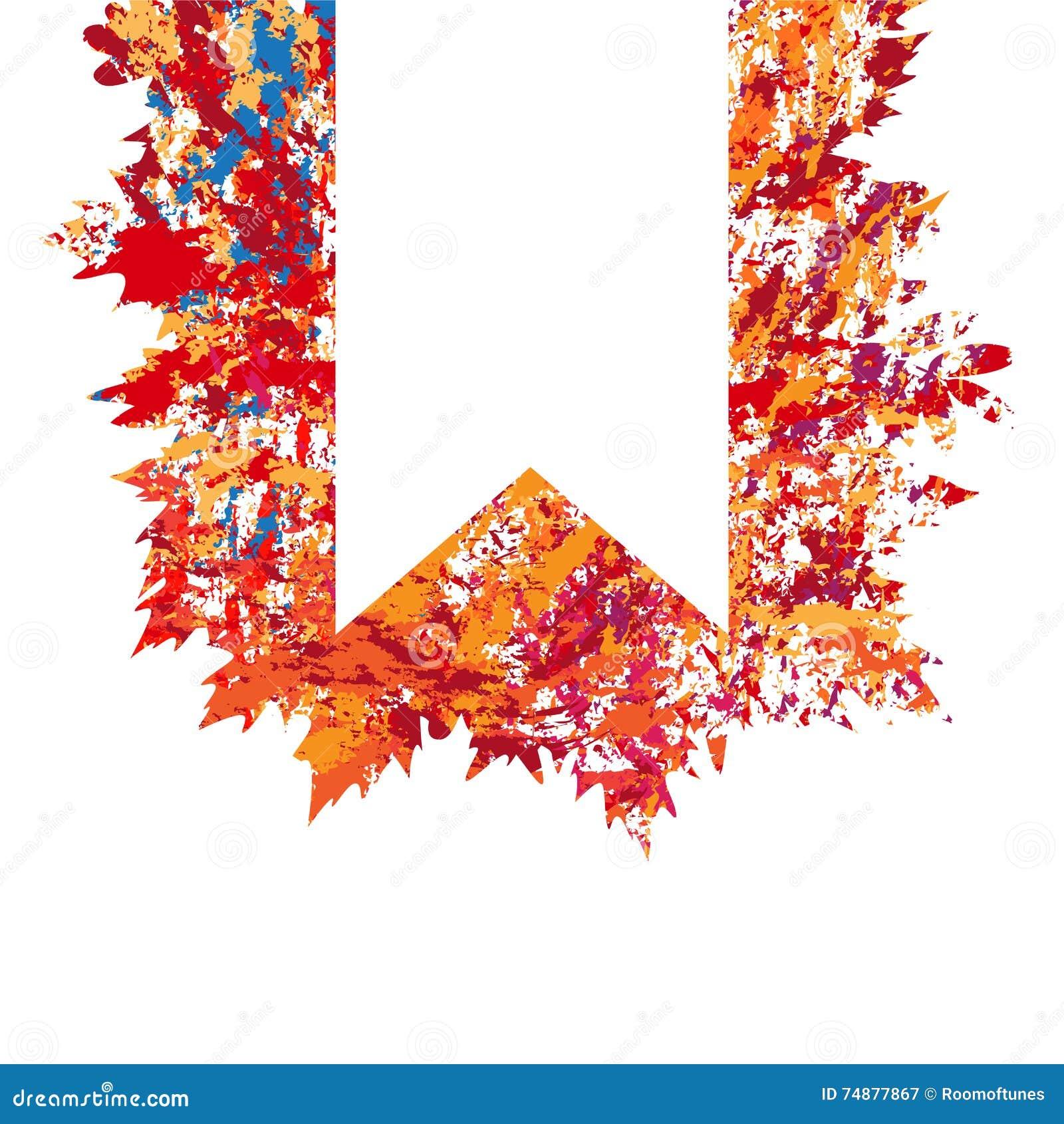 Vector o quadro com as folhas de outono coloridas no estilo do grunge