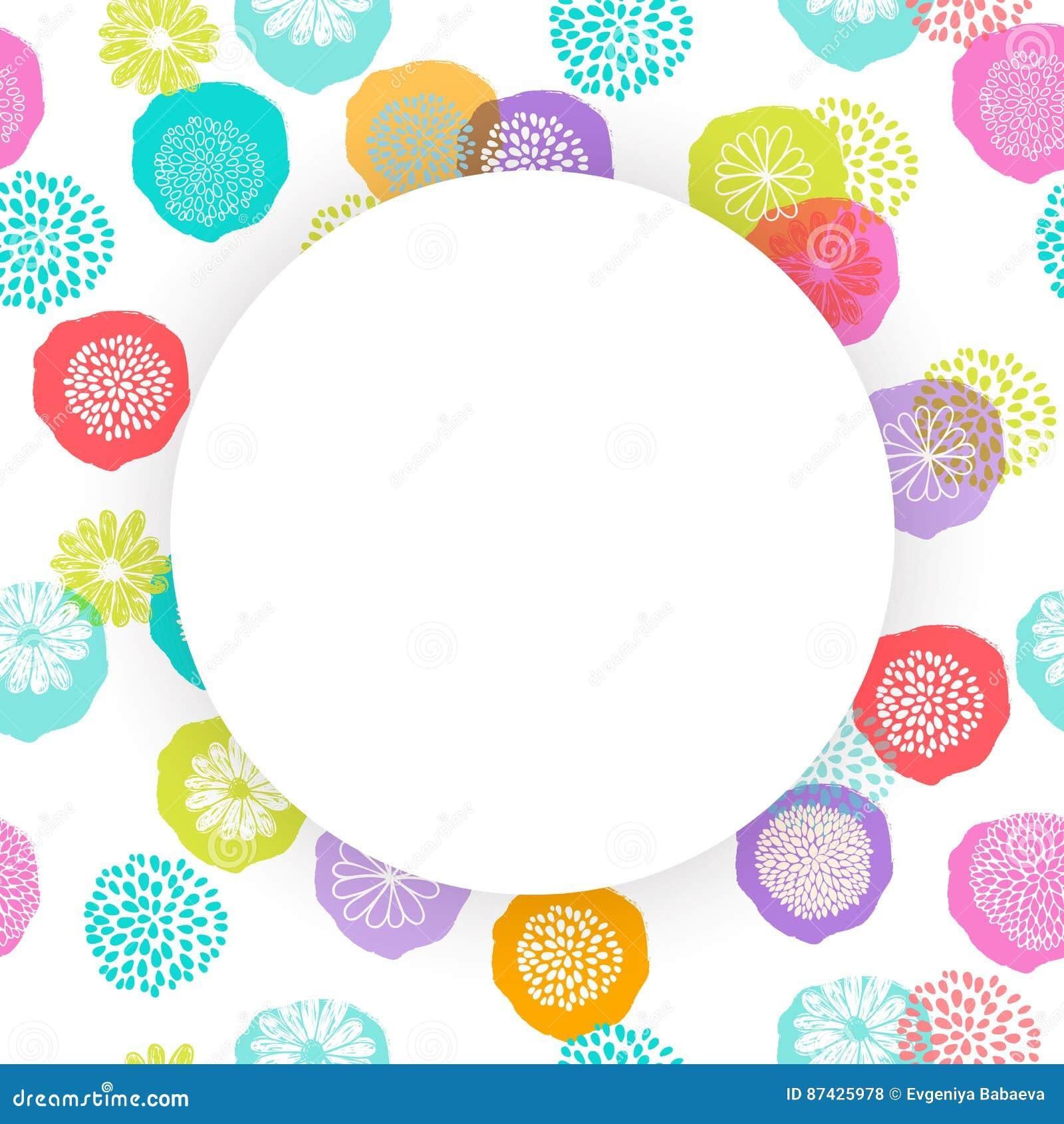 Vector o quadro do círculo no teste padrão floral sem emenda com flores da garatuja