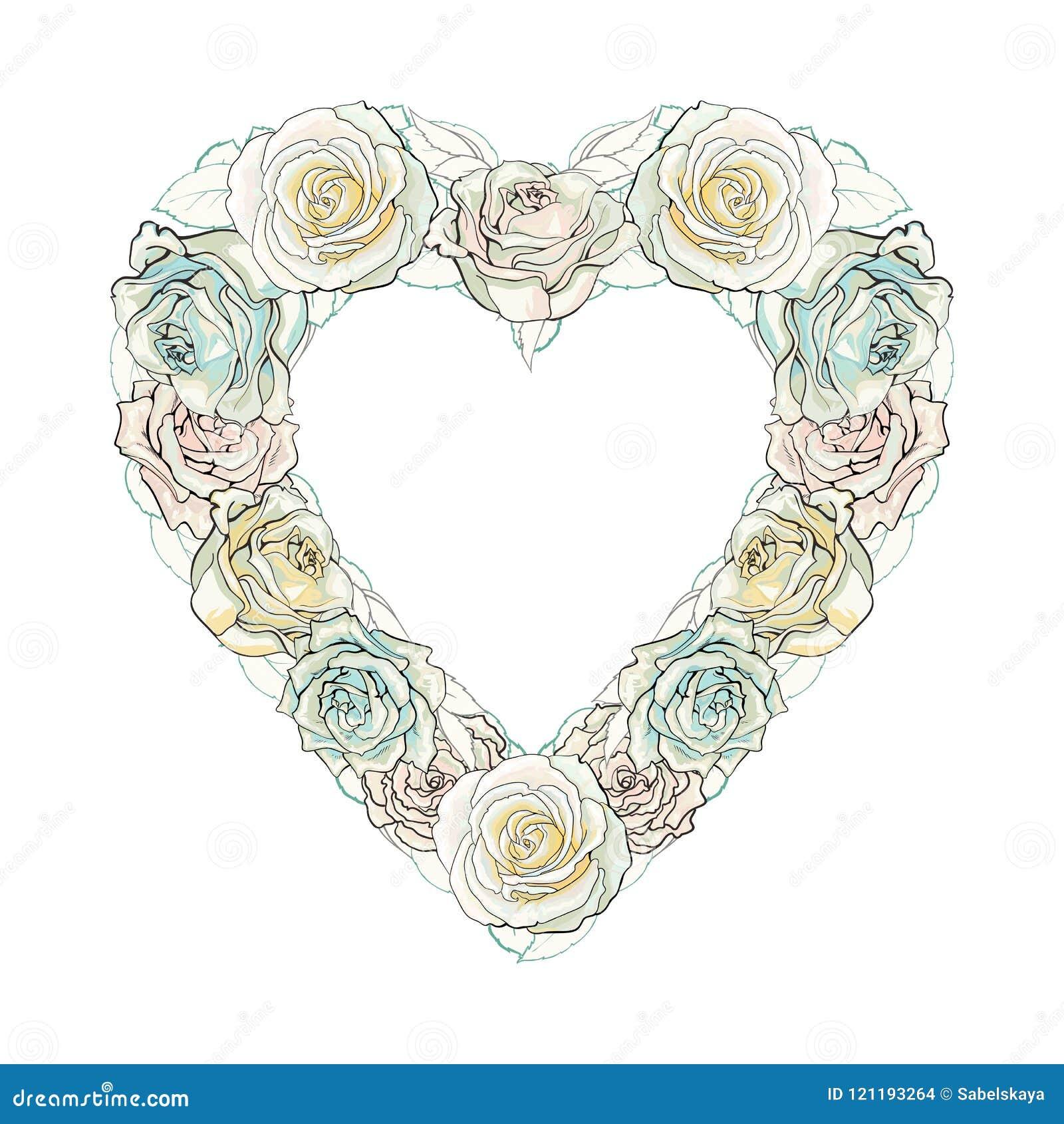ce5058b09 Teste padrão aberto fechado das flores da flor da rosa do branco no molde  do quadro da forma do coração Fundo natural floral da decoração