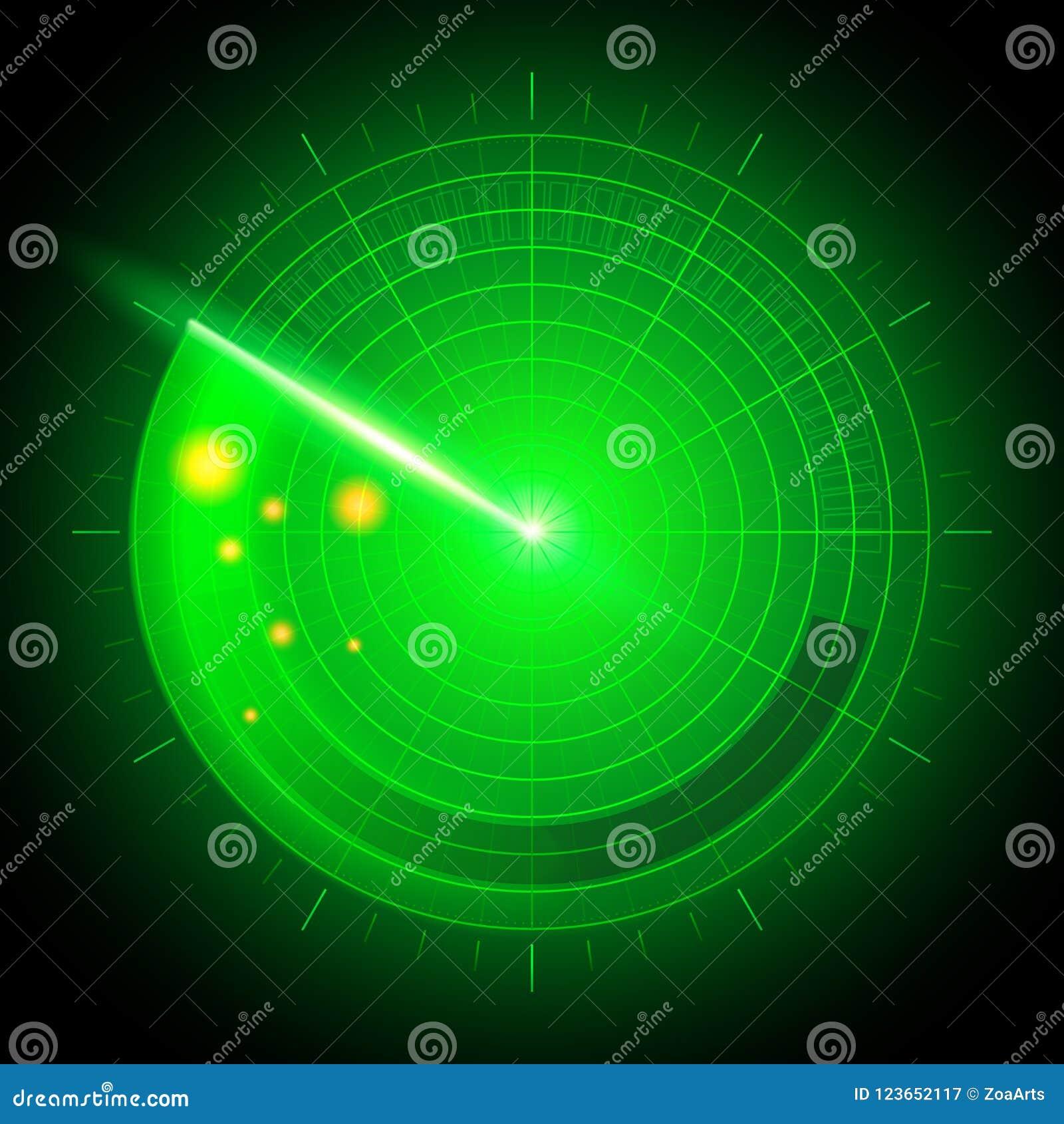 Vector o radar militar abstrato realístico digital do sistema de busca da ilustração com alvos na ação no monitor Interfac da nav