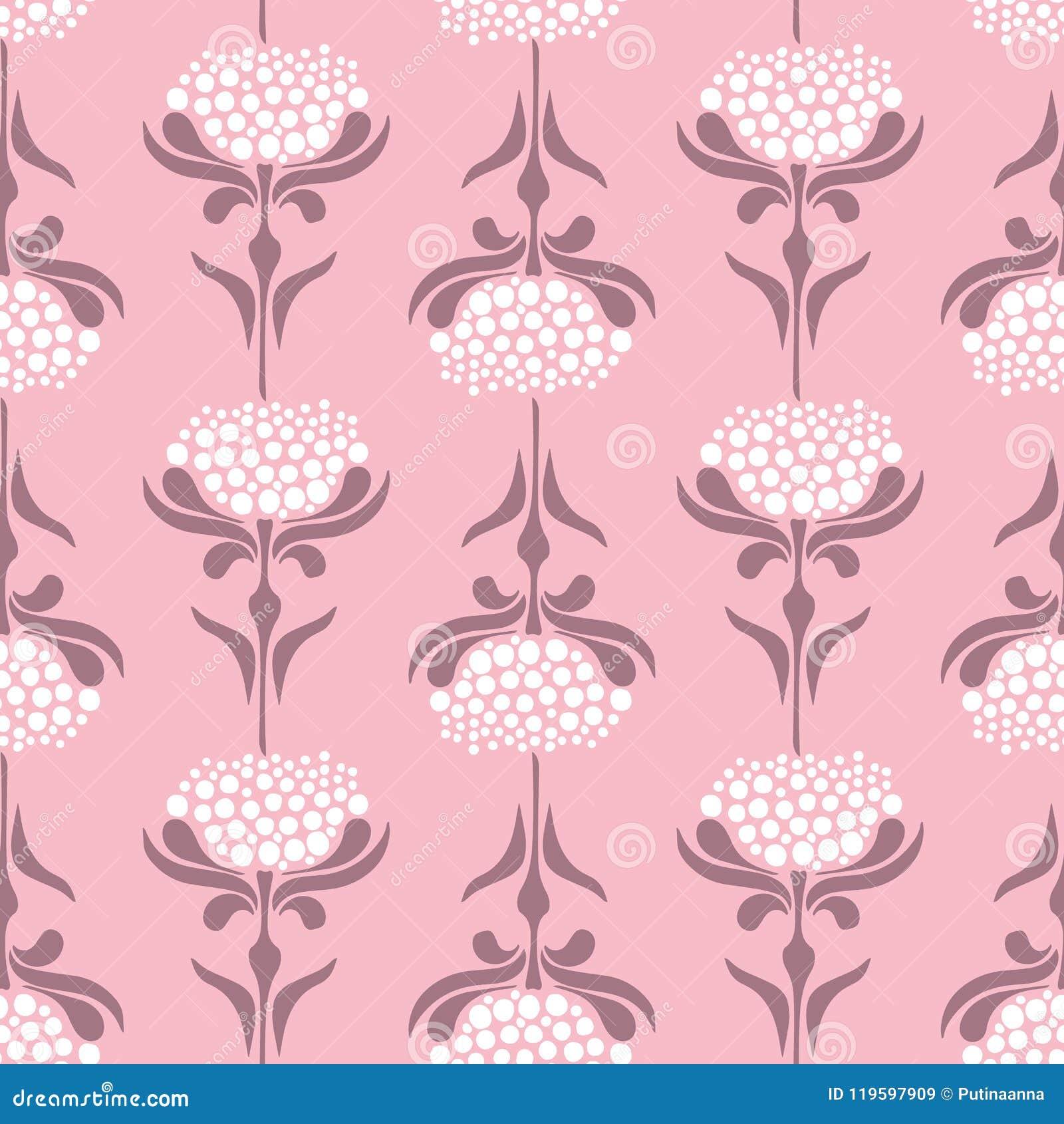 Vector o teste padrão sem emenda com as flores retros do estilo no fundo cor-de-rosa Fundo floral do laço