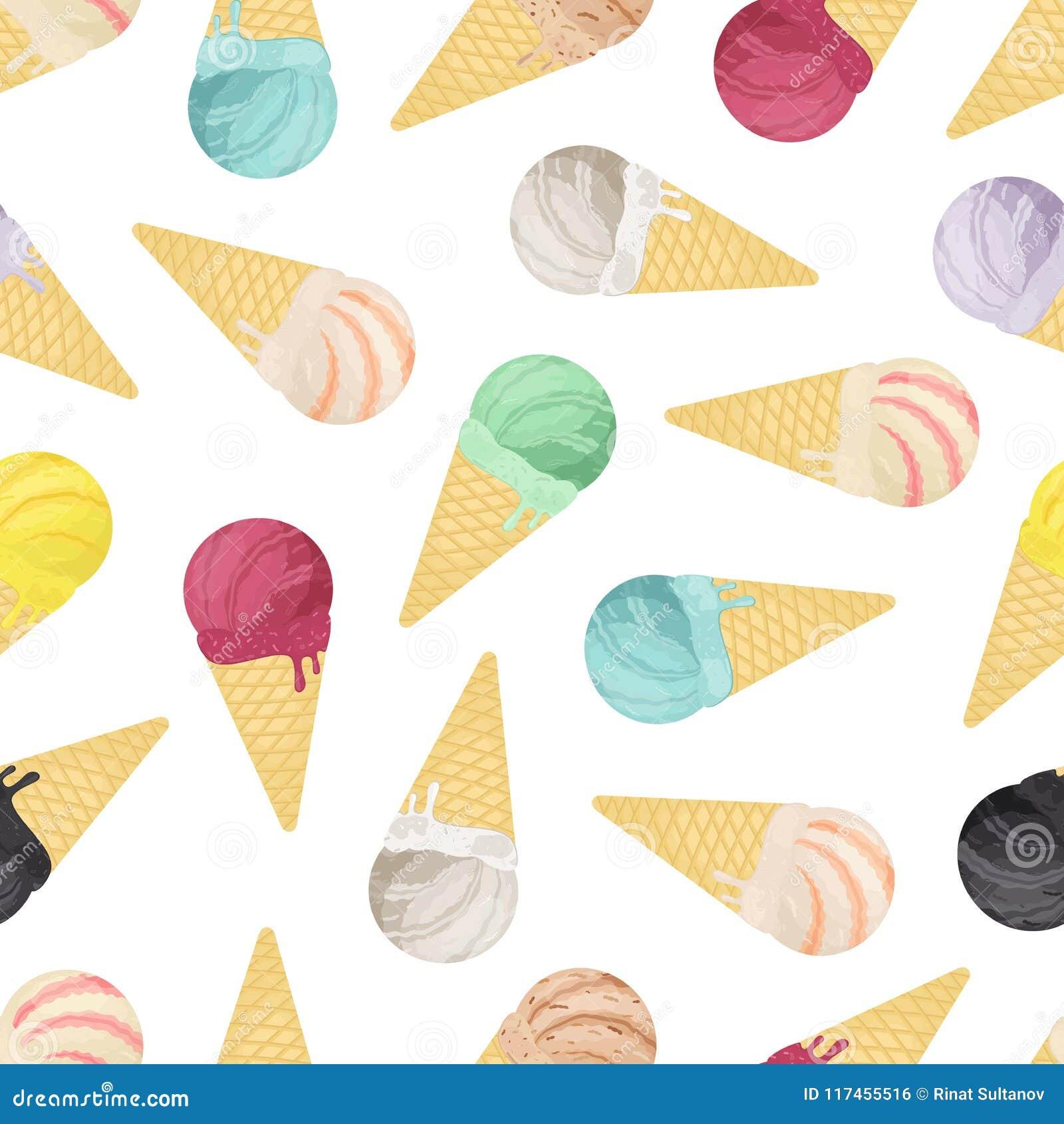 vector o teste padrão sem emenda da coleção do gelado nos cones