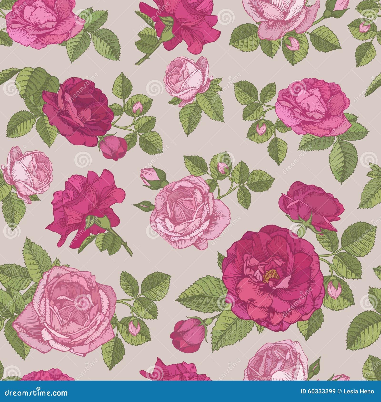 Vector o teste padrão sem emenda floral com as rosas vermelhas e cor-de-rosa tiradas mão no fundo bege