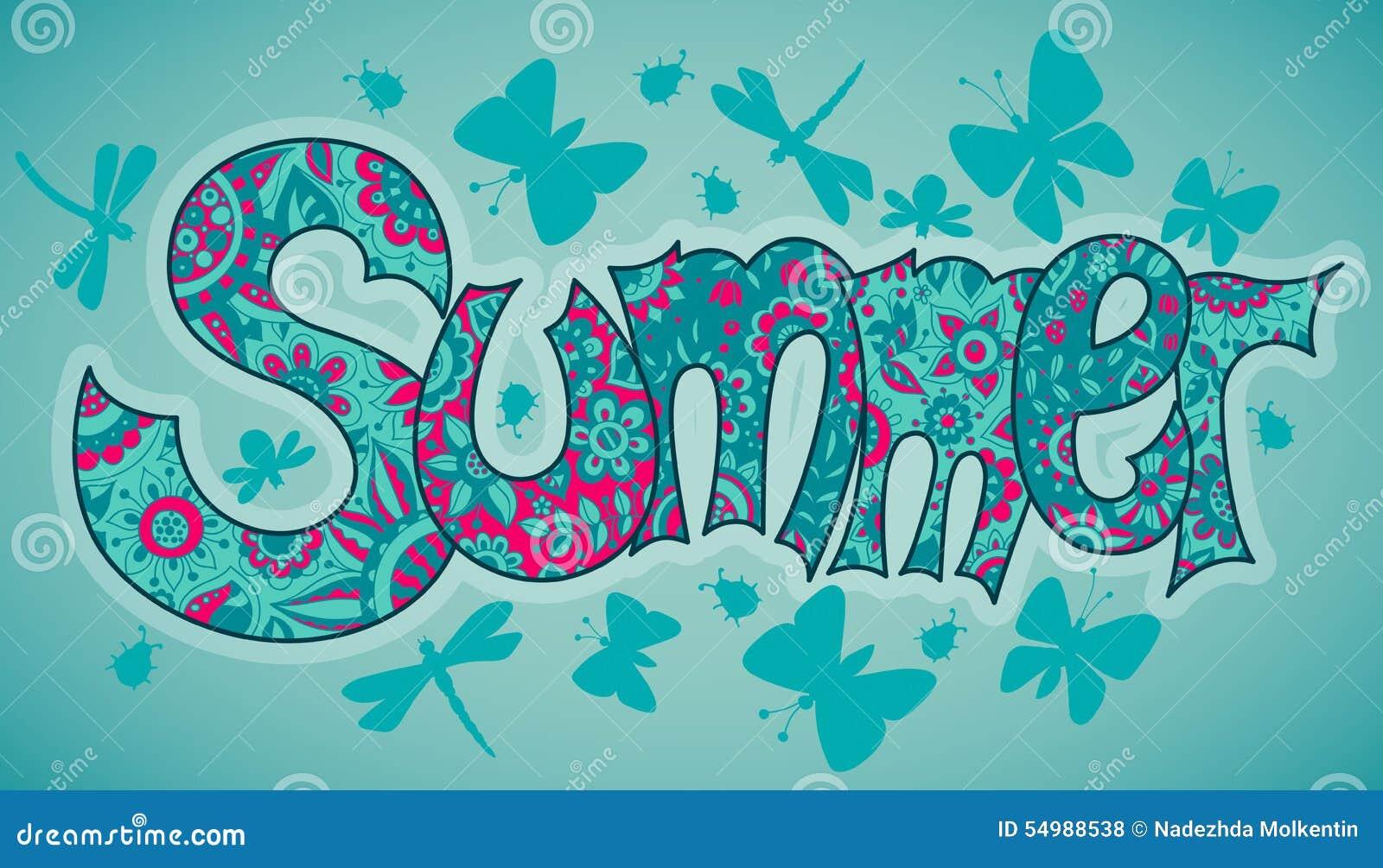 Vector o texto do verão com flores, libélulas, besouros e manteiga