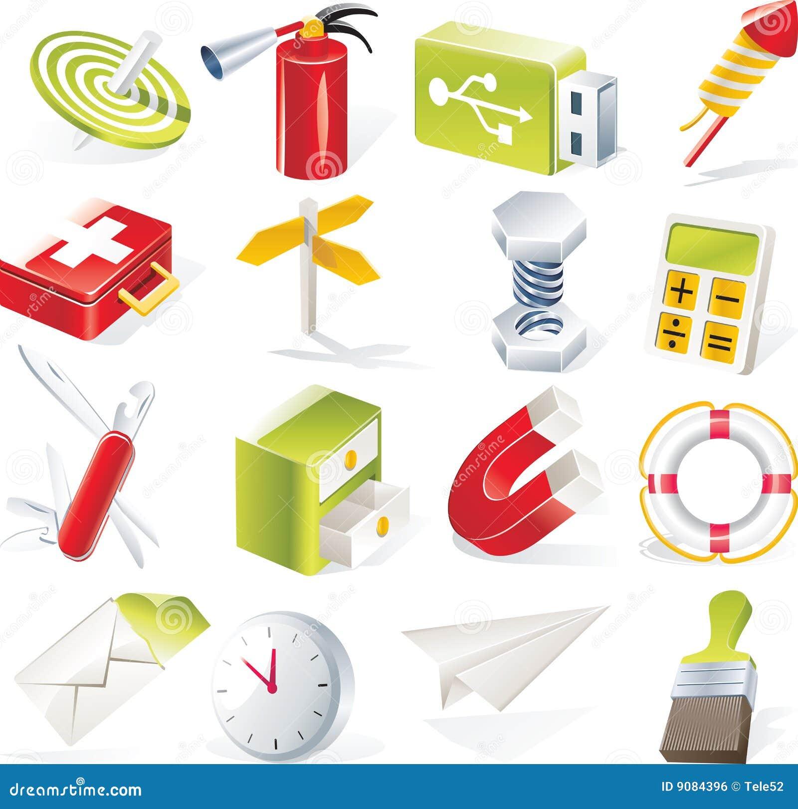 Vector objecten geplaatste pictogrammen. Deel 6