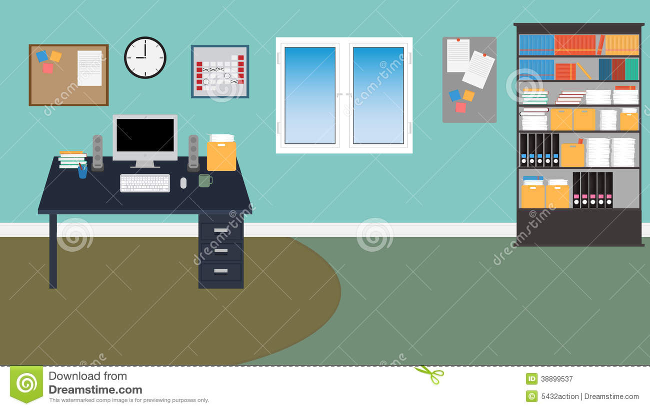 Vector office room in eps 10 stock vector illustration for Room design vector