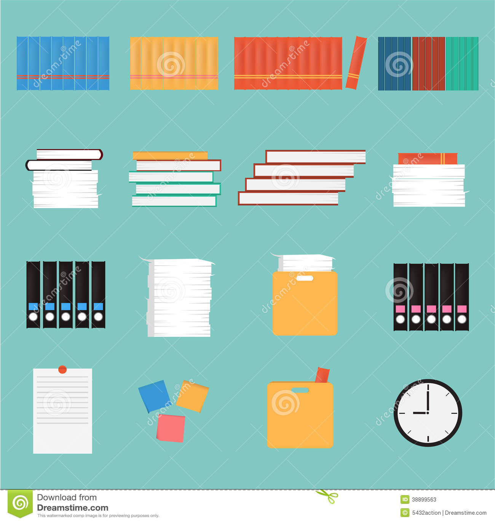 Vector Office Stuff Set.book,paper,clock,box,note Stock Vector ...
