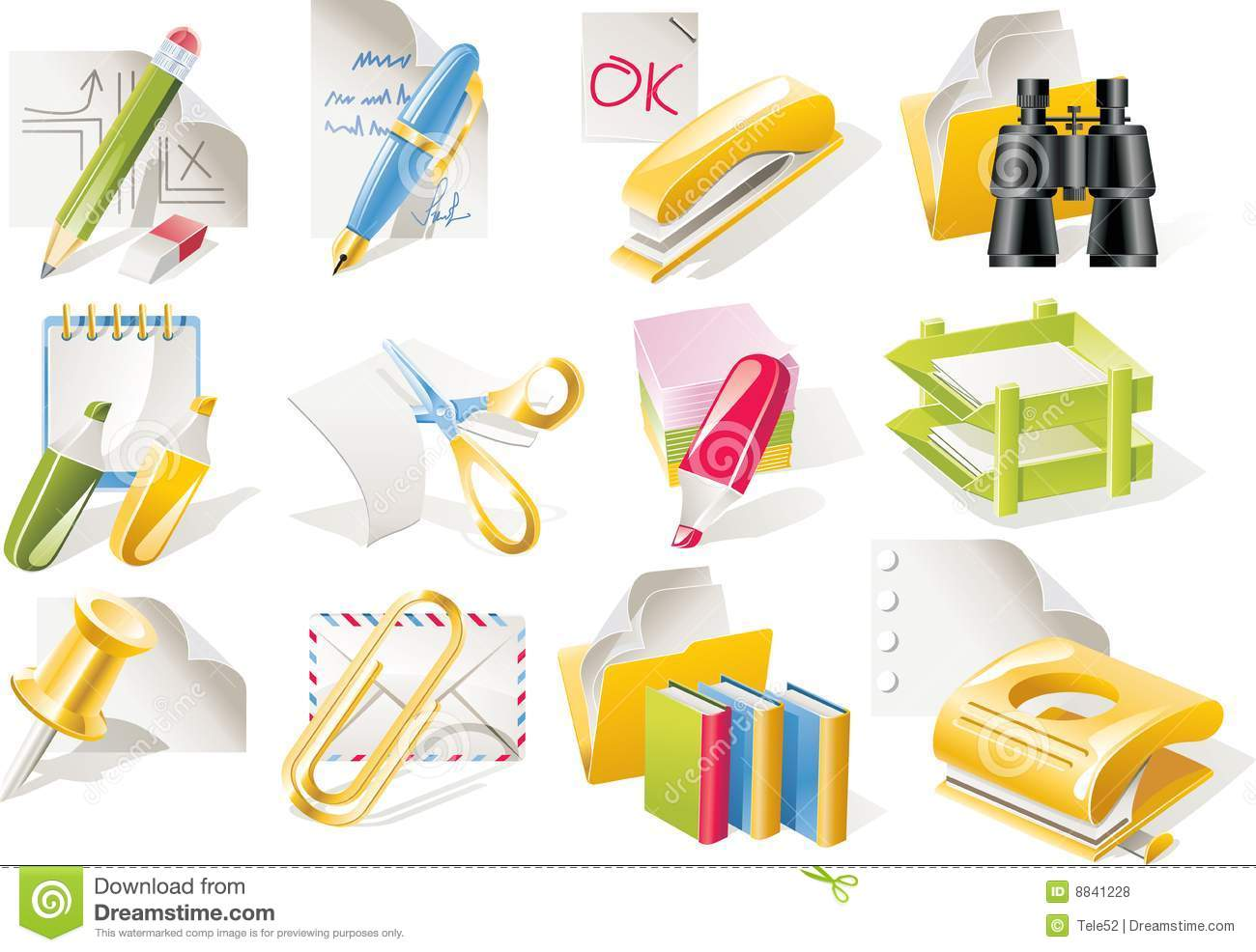 Office Supplies Cartoon Vector office supplies icon