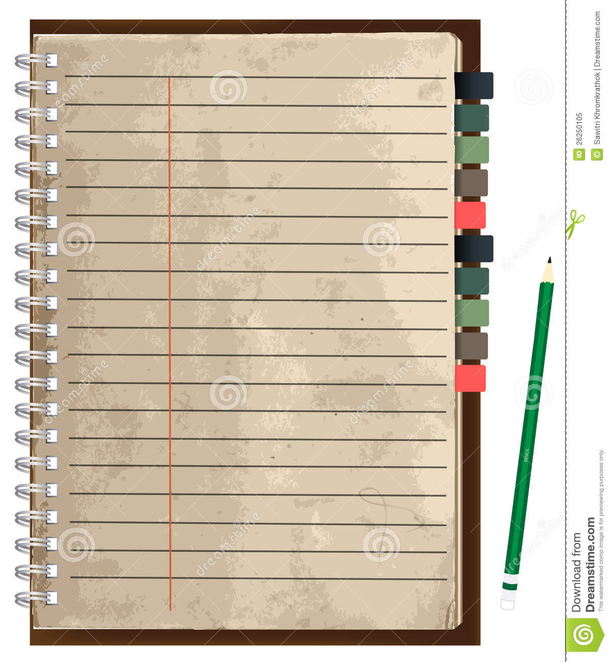 Vector old paper notebook stock vector. Illustration of ...