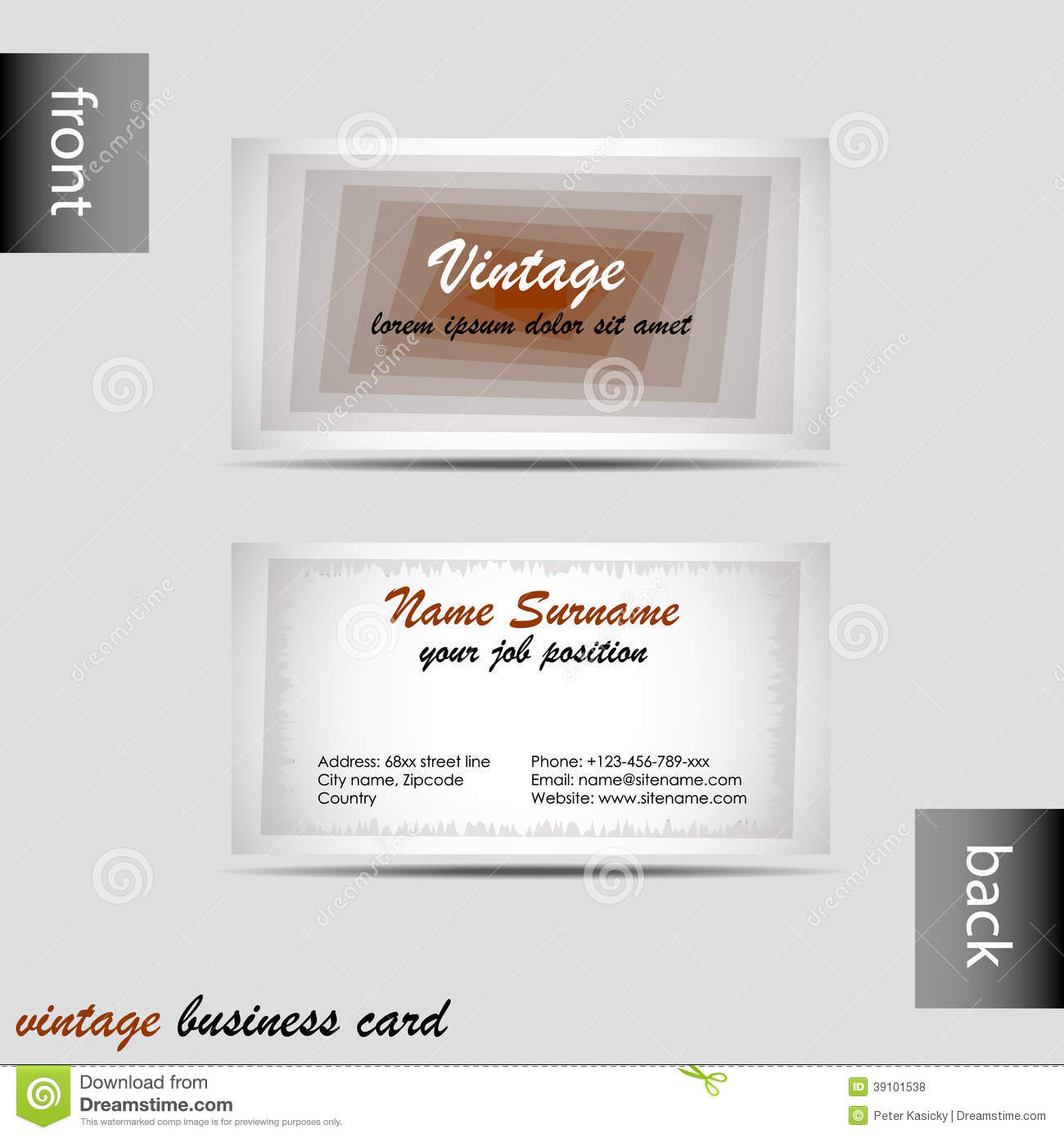 Vector Old style Retro Vintage Business Card Stock Vector