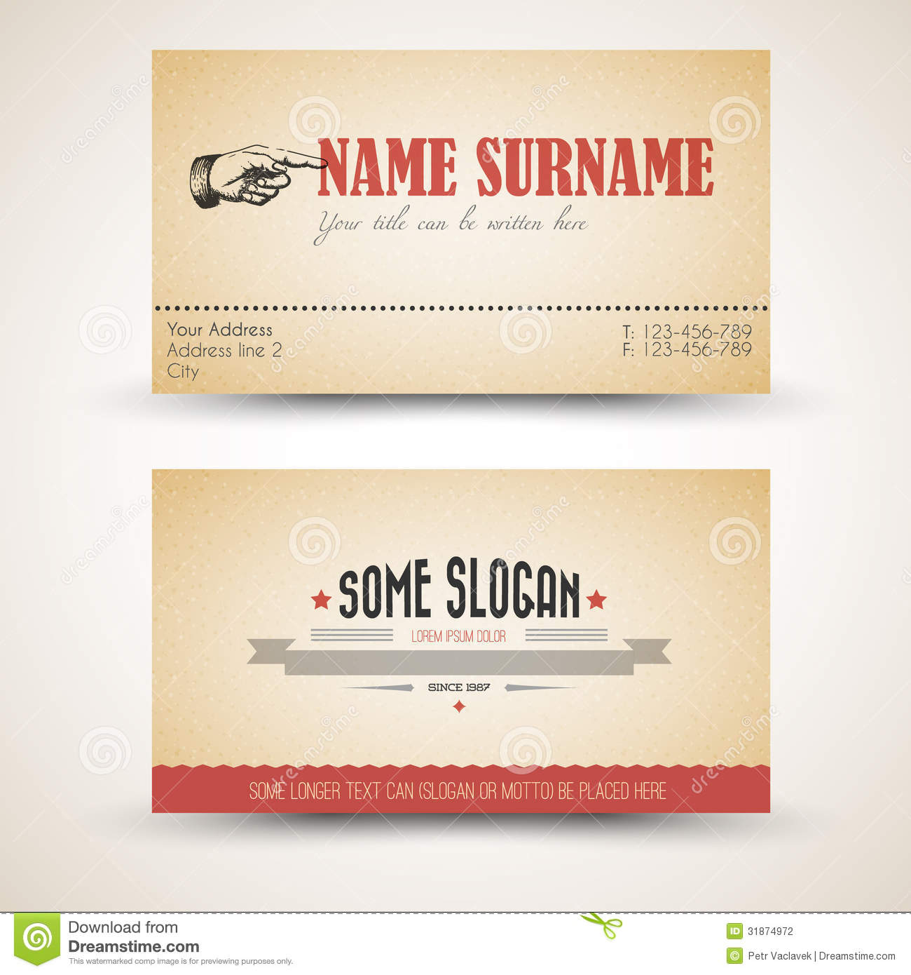 Vector Old-style Retro Vintage Business Card Template Stock ...