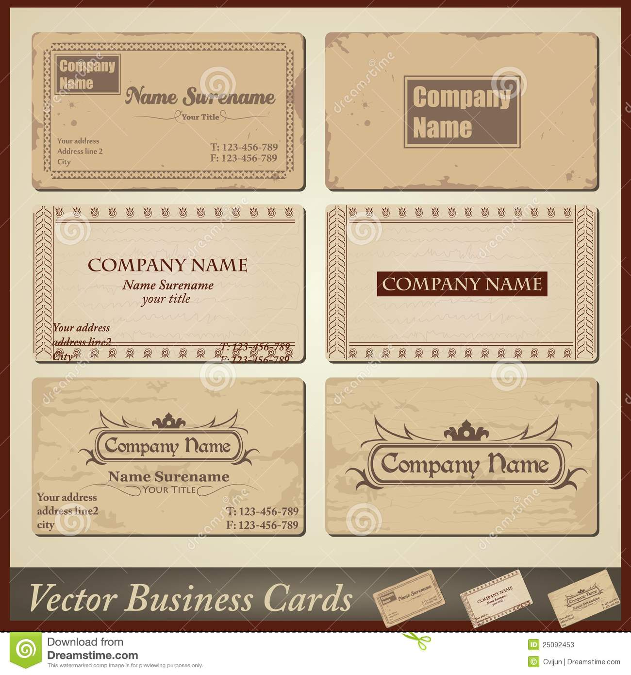 Vector Old style Retro Vintage Business Cards Stock s