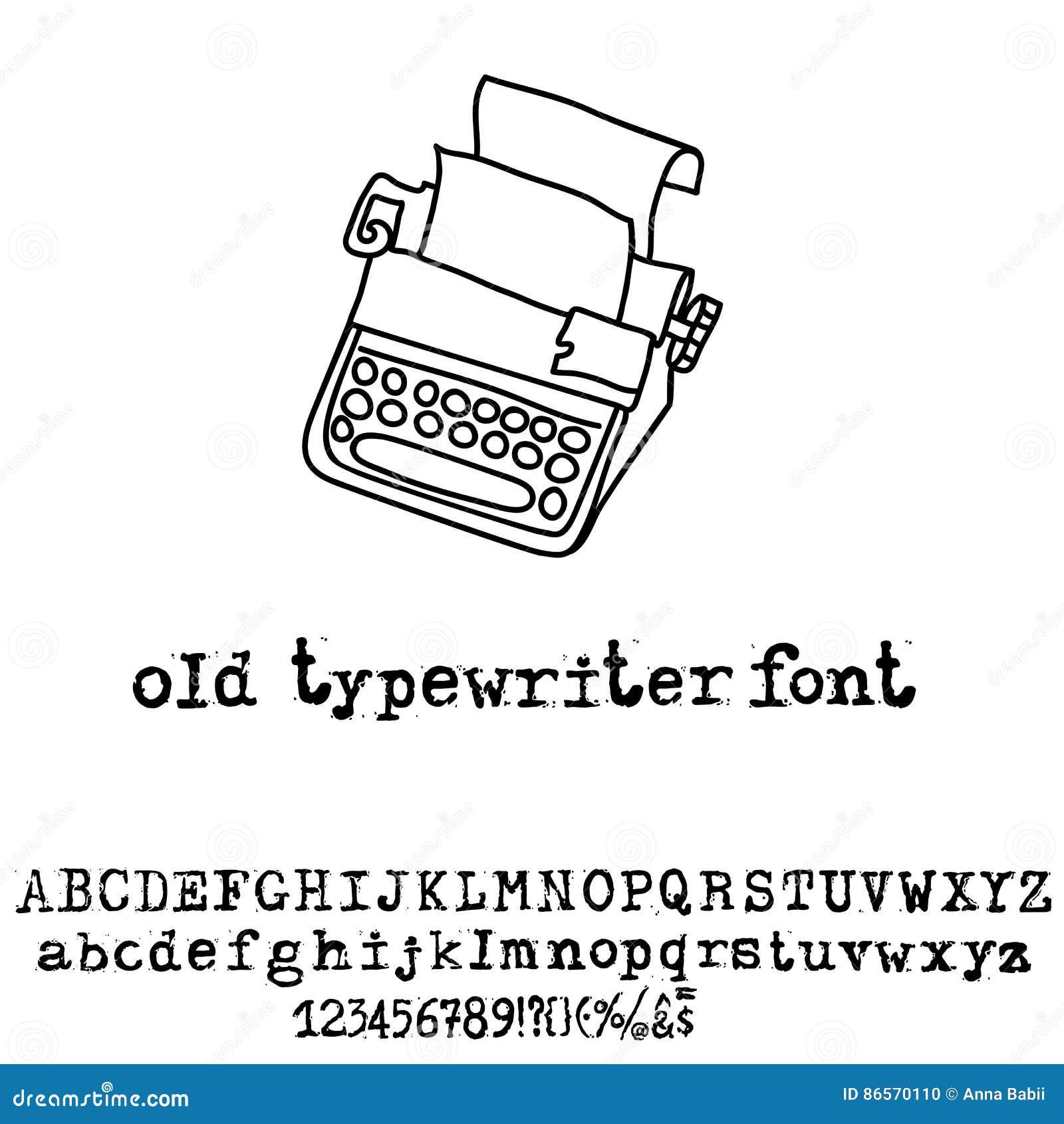 Vector Old Typewriter Font  Vintage Grunge Font  Vector