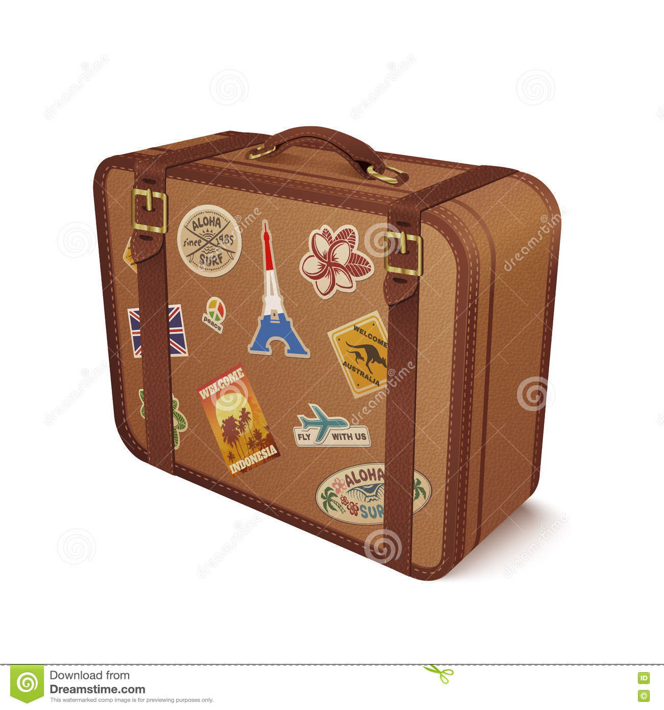 Luggage Leather Suitcase With Travel Sticker Stock Vector - Image ...